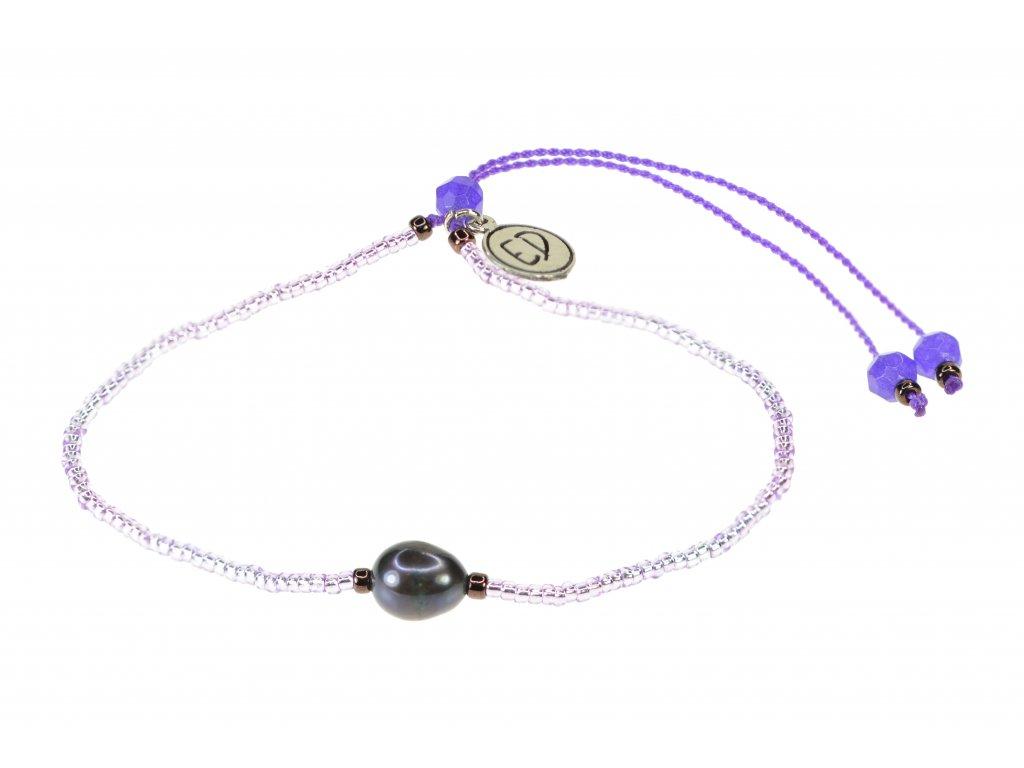 Náramok s riečnou perlou a polodrahokamom achát - fialový
