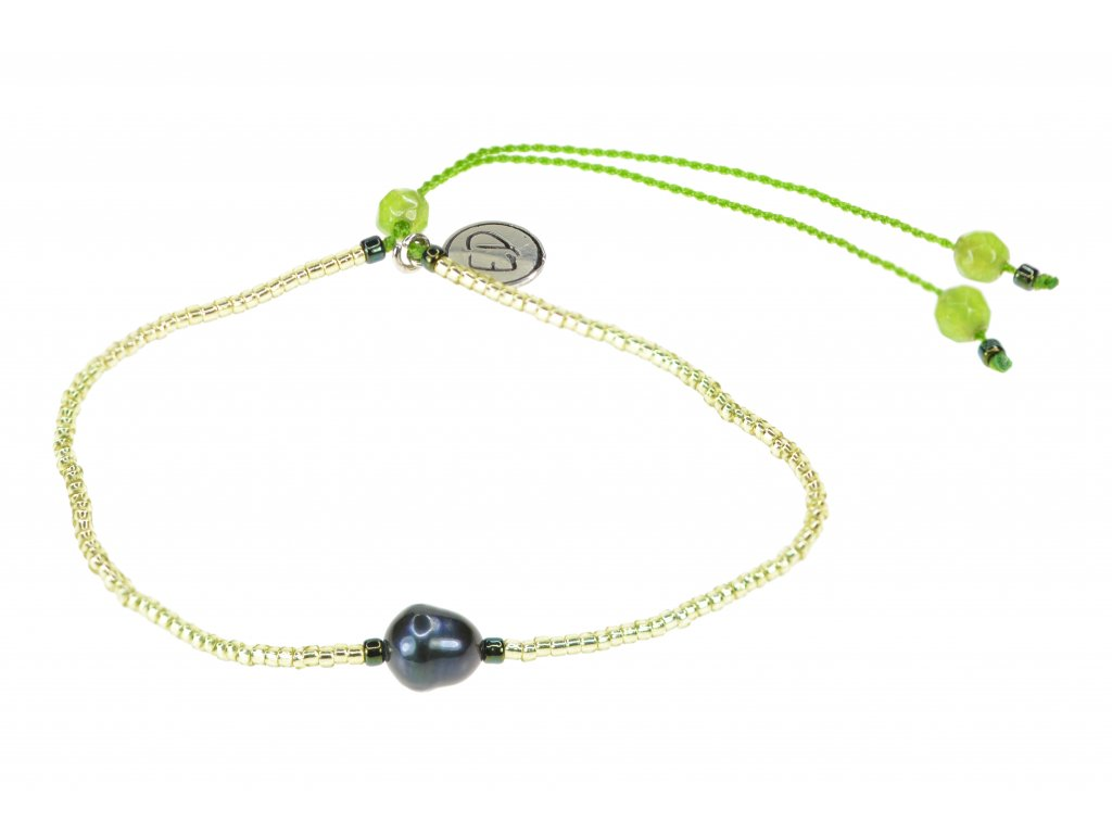 Náramok s riečnou perlou a polodrahokamom achát - zelený