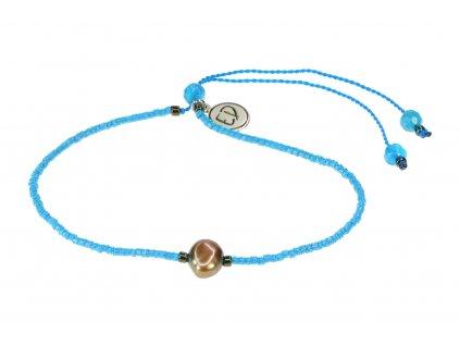 Náramok s riečnou perlou a polodrahokamom achát - modrý