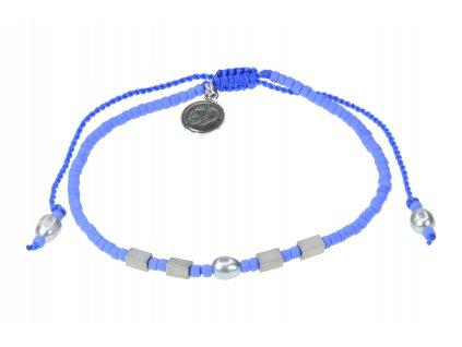 Náramok z japonského rokajlu s riečnou perlou a hematitom - fialová  + darčeková krabička