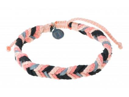 Unisex ručne pletený náramok viacfarebný - koralová, sivá, čierna