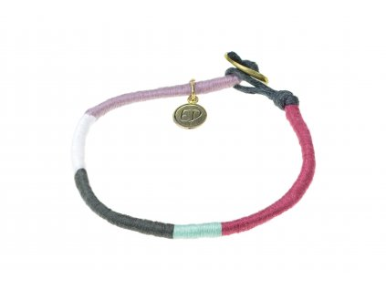 Dámsky pevný pletený náramok - multicolor