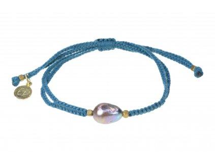 Dámsky pletený náramok s perlou  - modrý