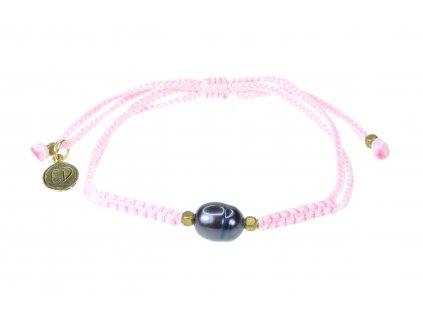 Dámsky pletený náramok s perlou  - ružový