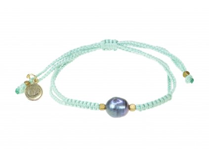 Dámsky pletený náramok s perlou  - mentolový