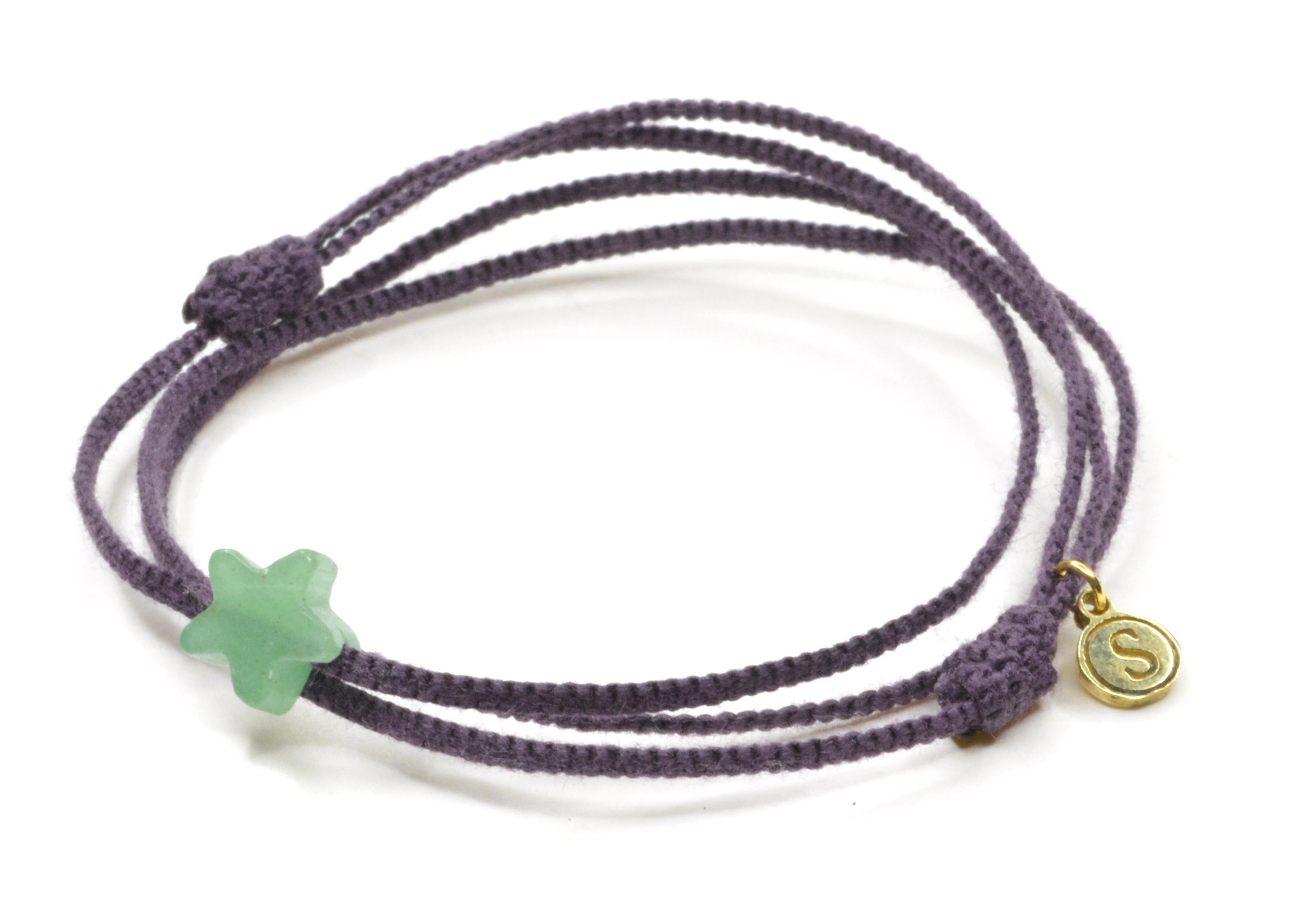 Pletený náramok so štvorlístkom z polodrahokamu Avanturín-  fialový