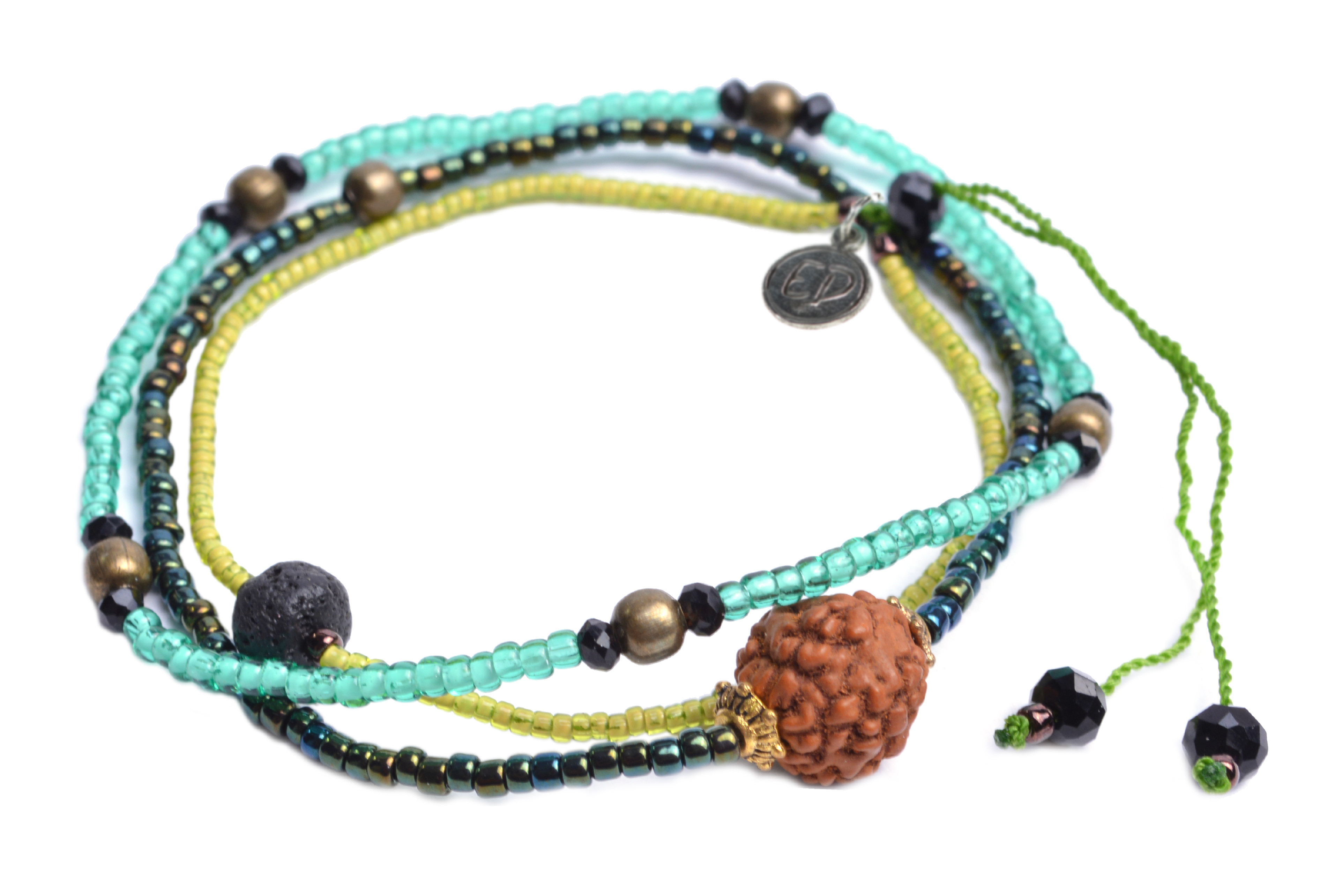 Set náramkov s lávovým kameňom a korálkou Rudraksha - zelený