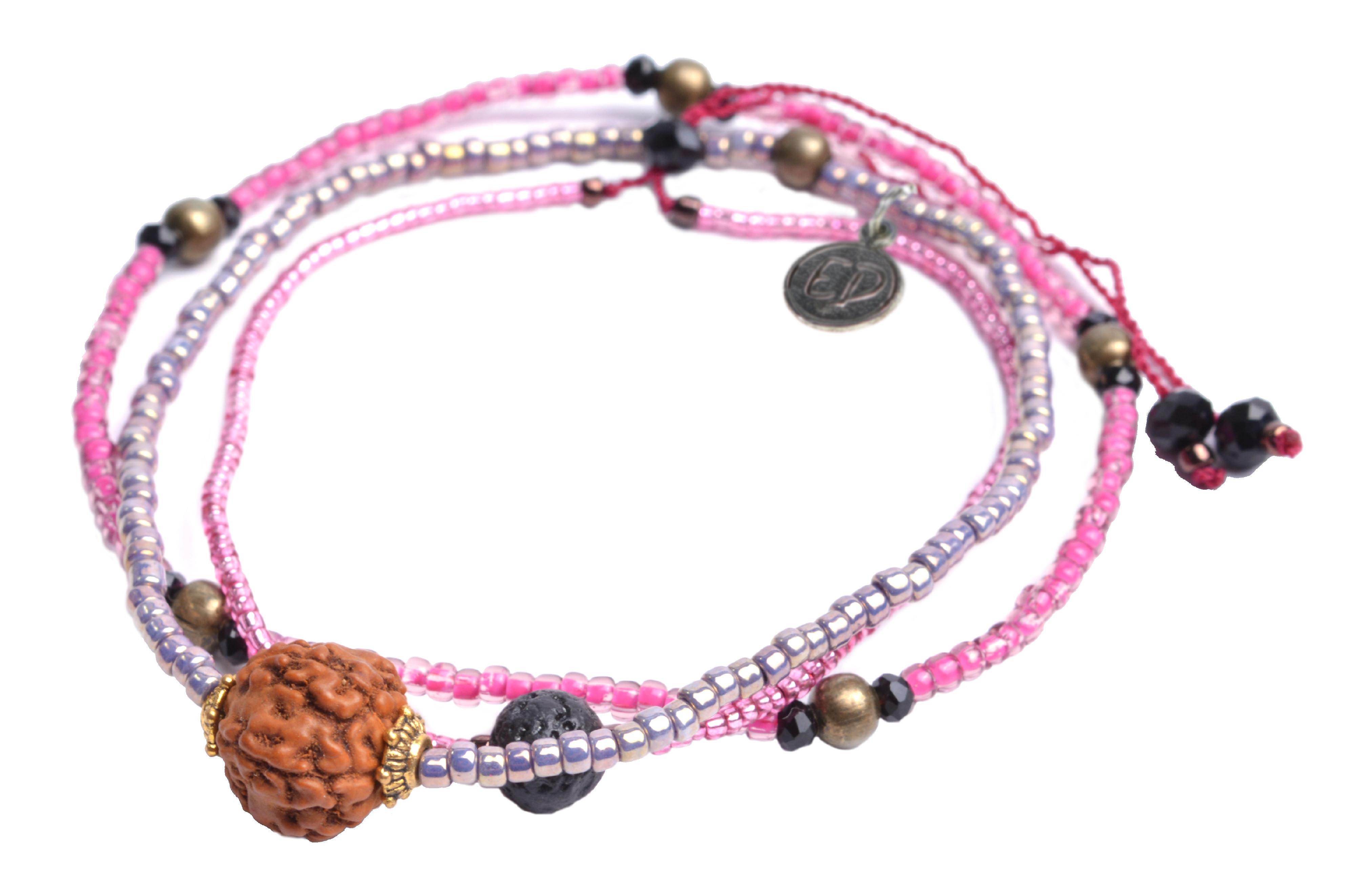 Set náramkov s lávovým kameňom a korálkou Rudraksha - ružový