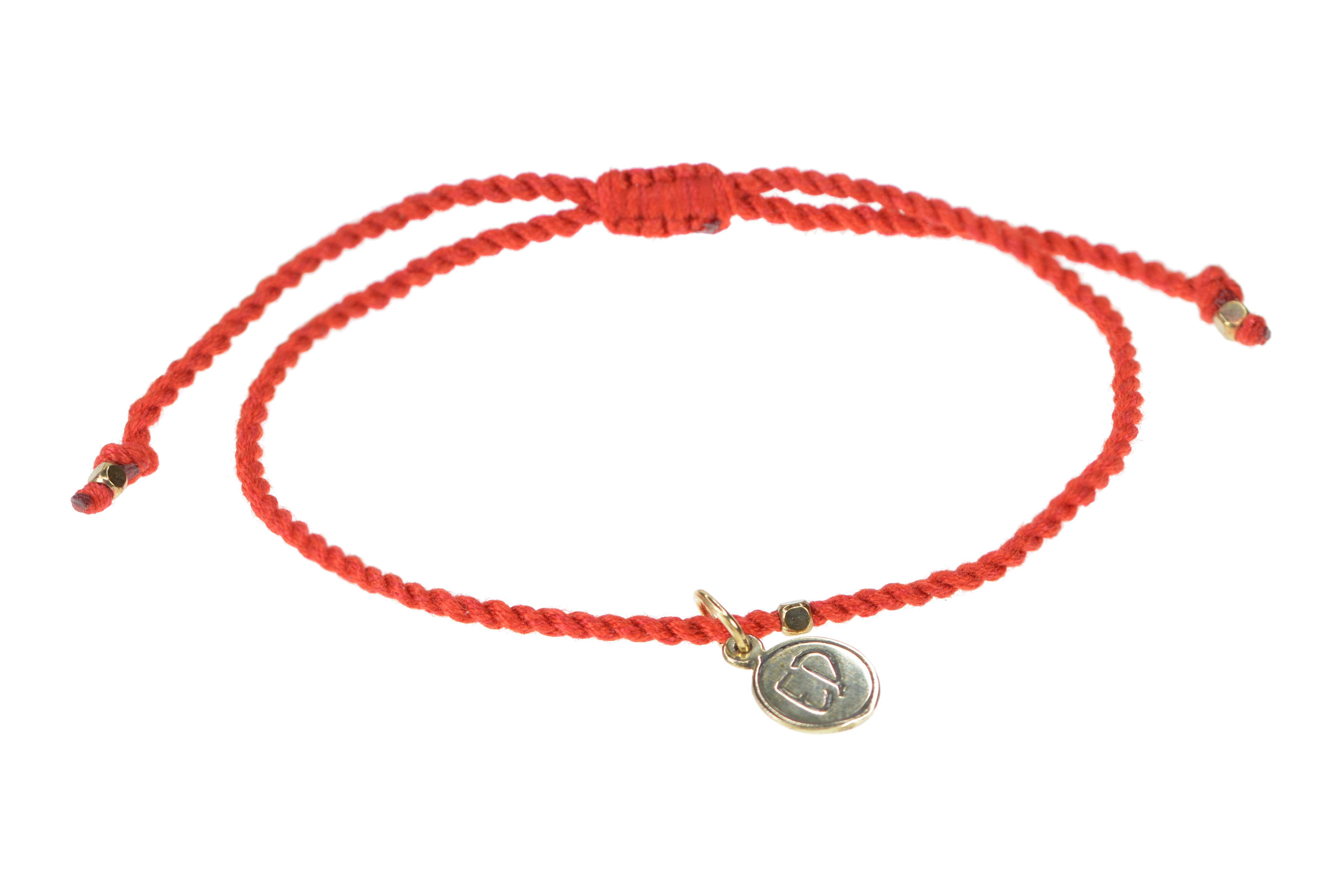 Jednoduchý ochranný náramok z bavlny - červený