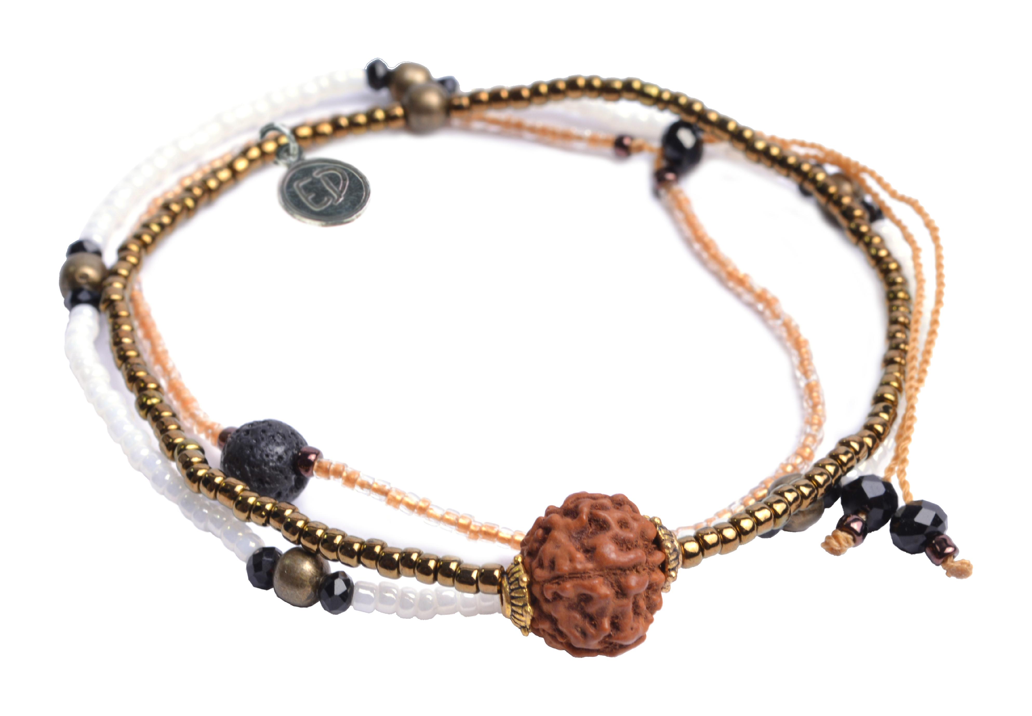 Set náramkov s lávovým kameňom a korálkou Rudraksha - hnedý