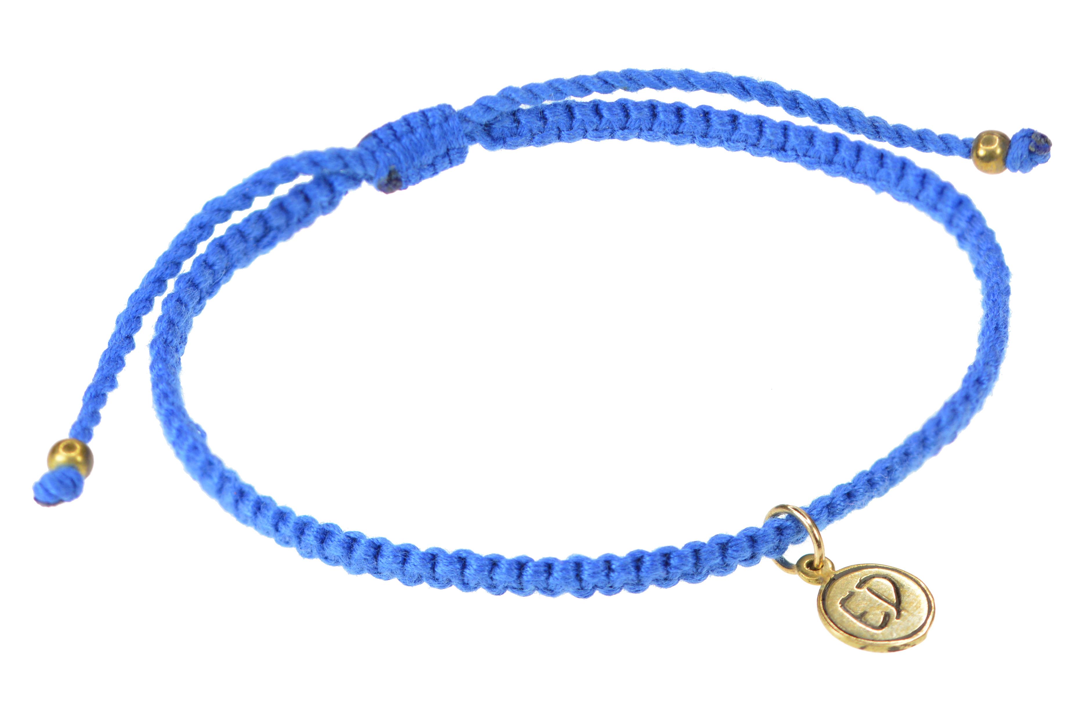 Minimalistický pletený náramok z bavlny - modrý
