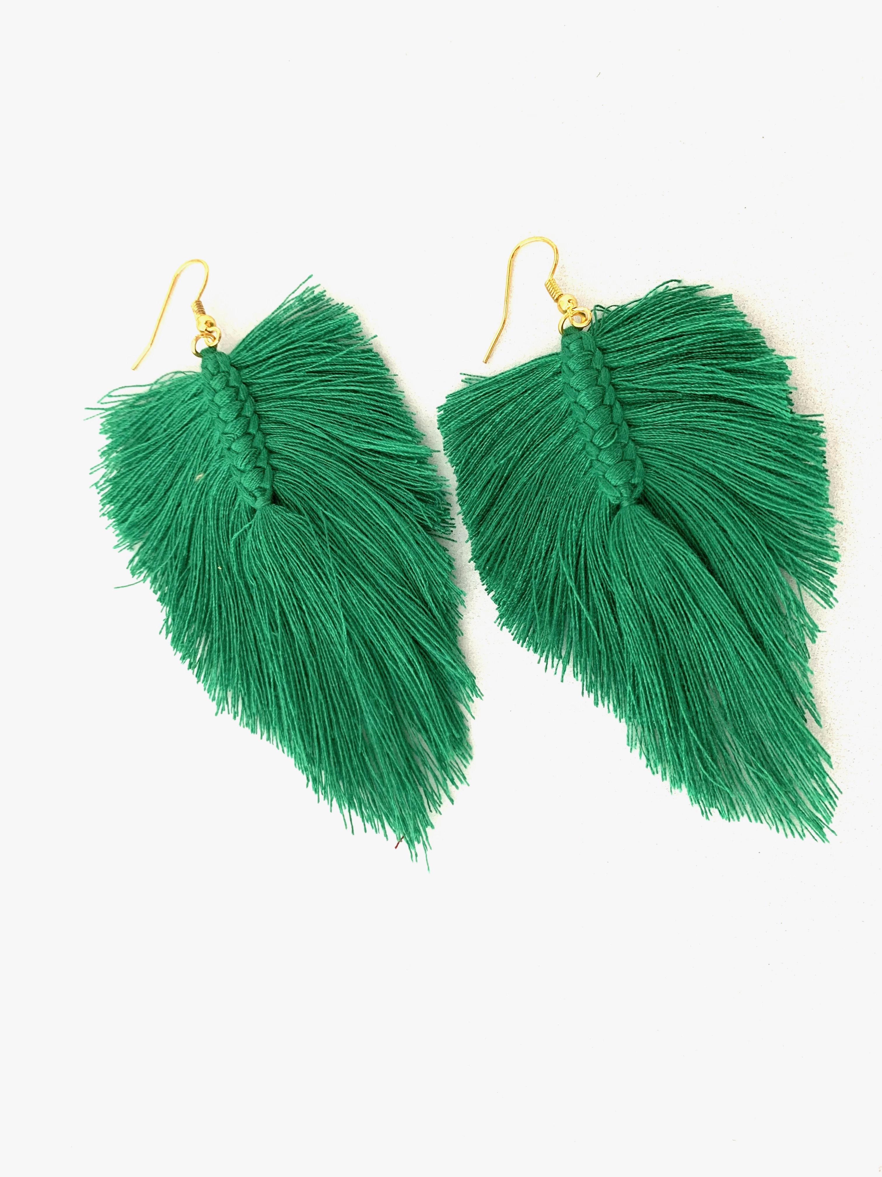 Dámske visiace náušnice palmový list - zelené
