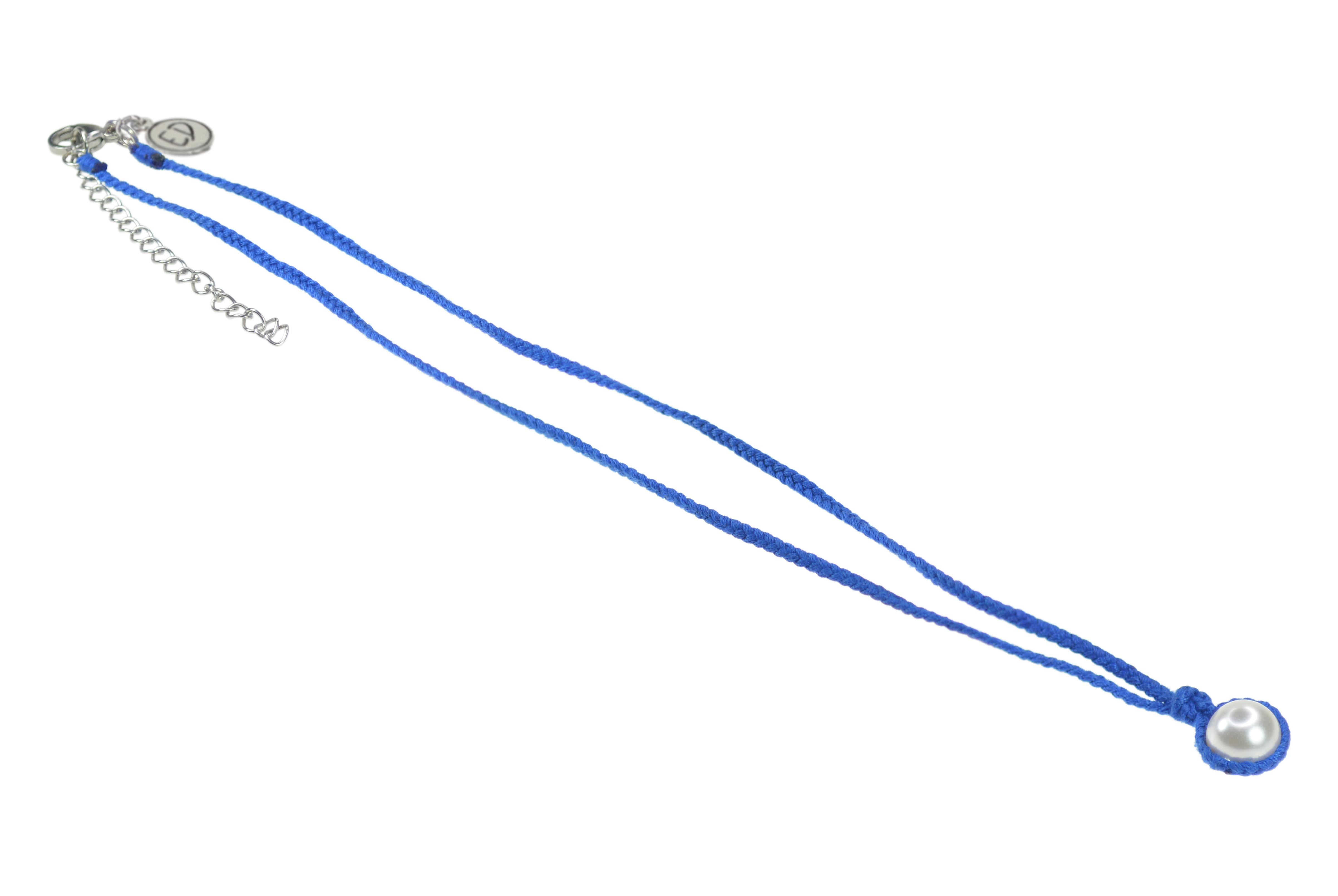 Dámsky ručne pletený náhrdelník s perlou - modrý