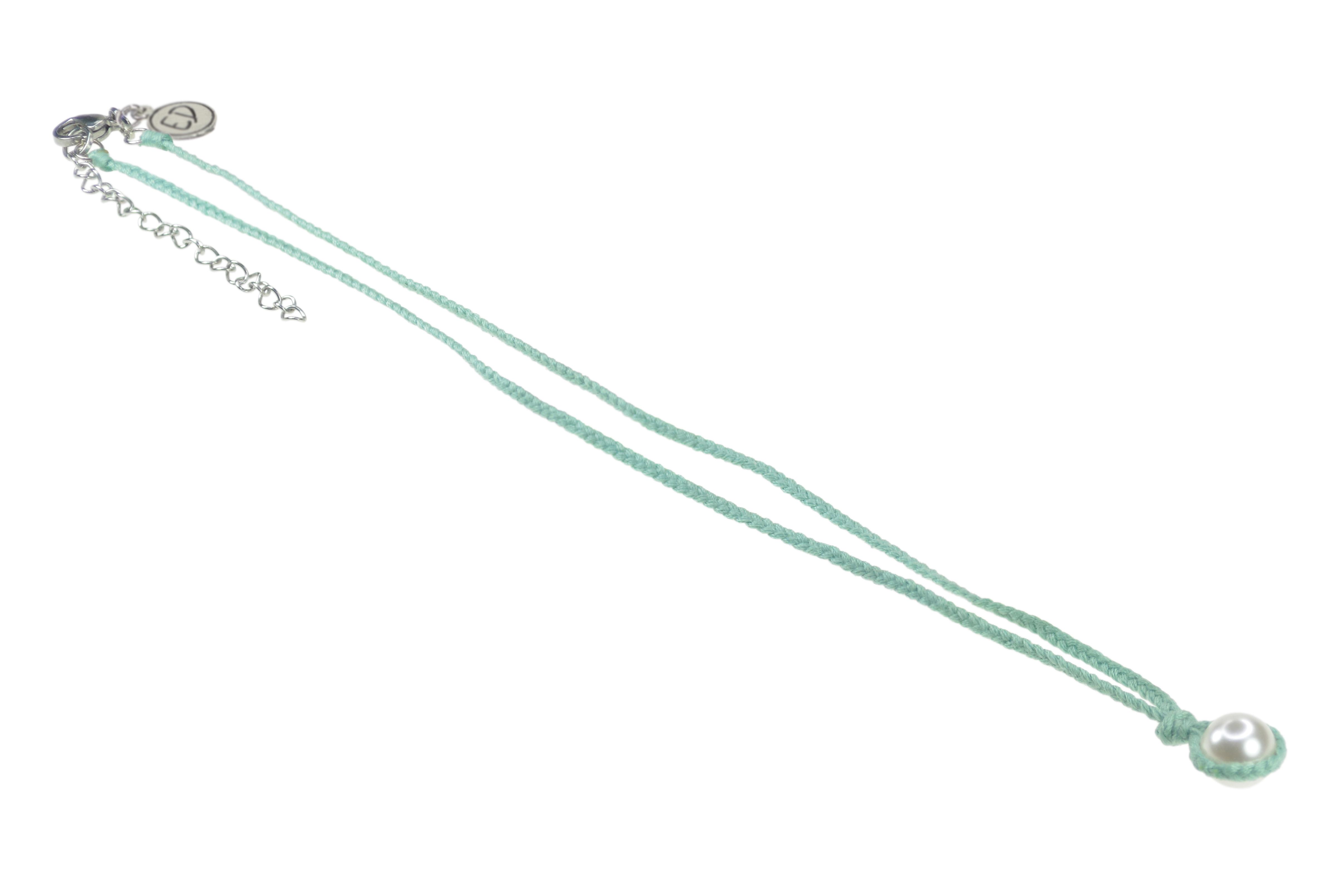 Dámsky ručne pletený náhrdelník s perlou - mentolový