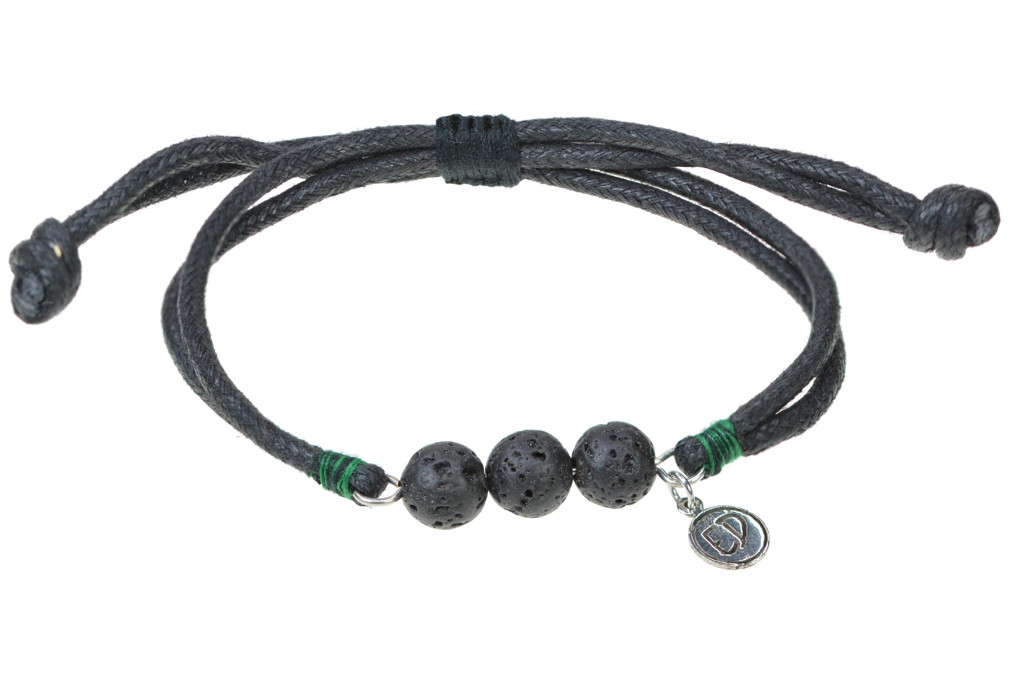 Pánsky náramok s lávovými kameňmi a zelenou bavlnenou nitkou