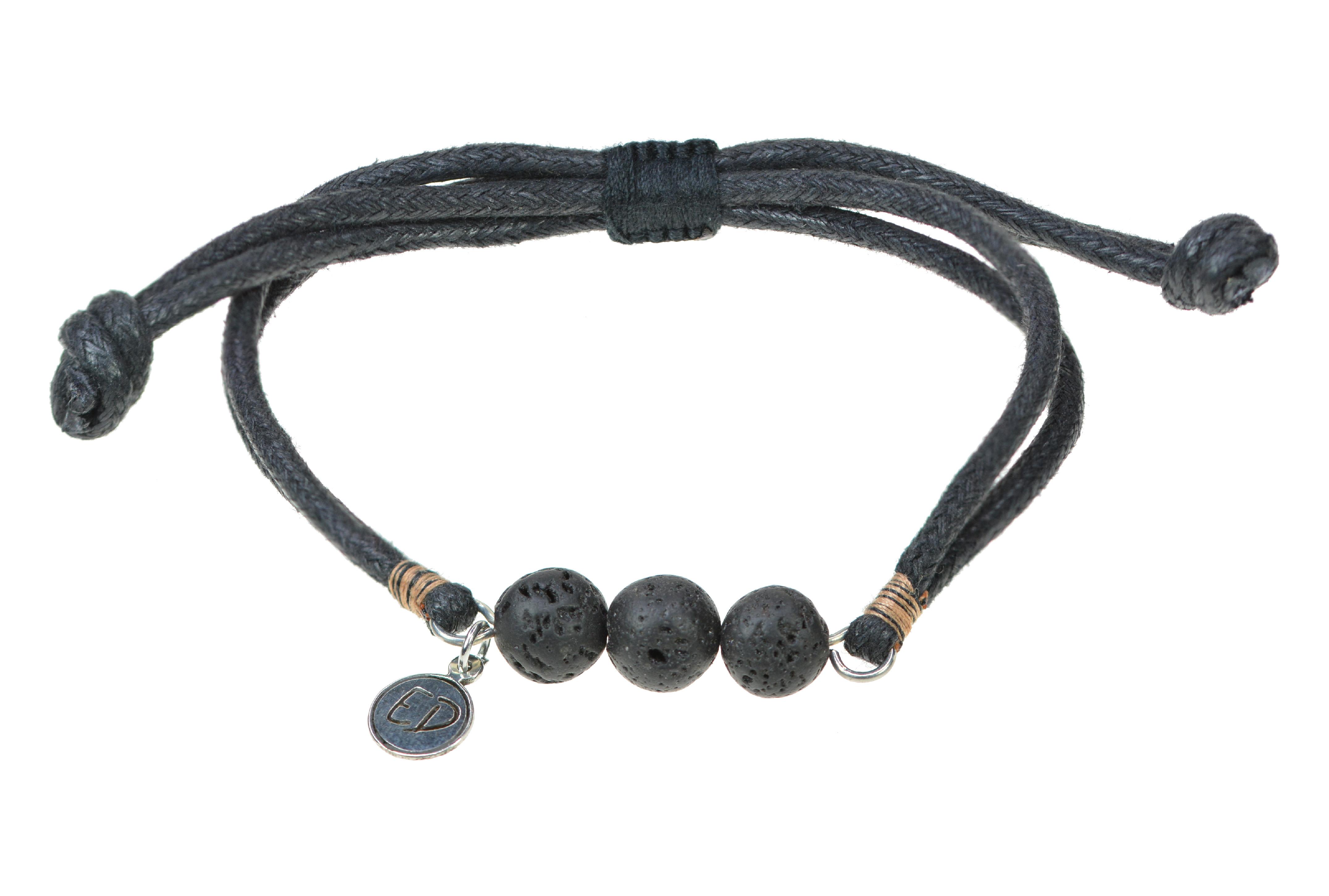 Pánsky náramok s lávovými kameňmi a hnedou bavlnenou nitkou