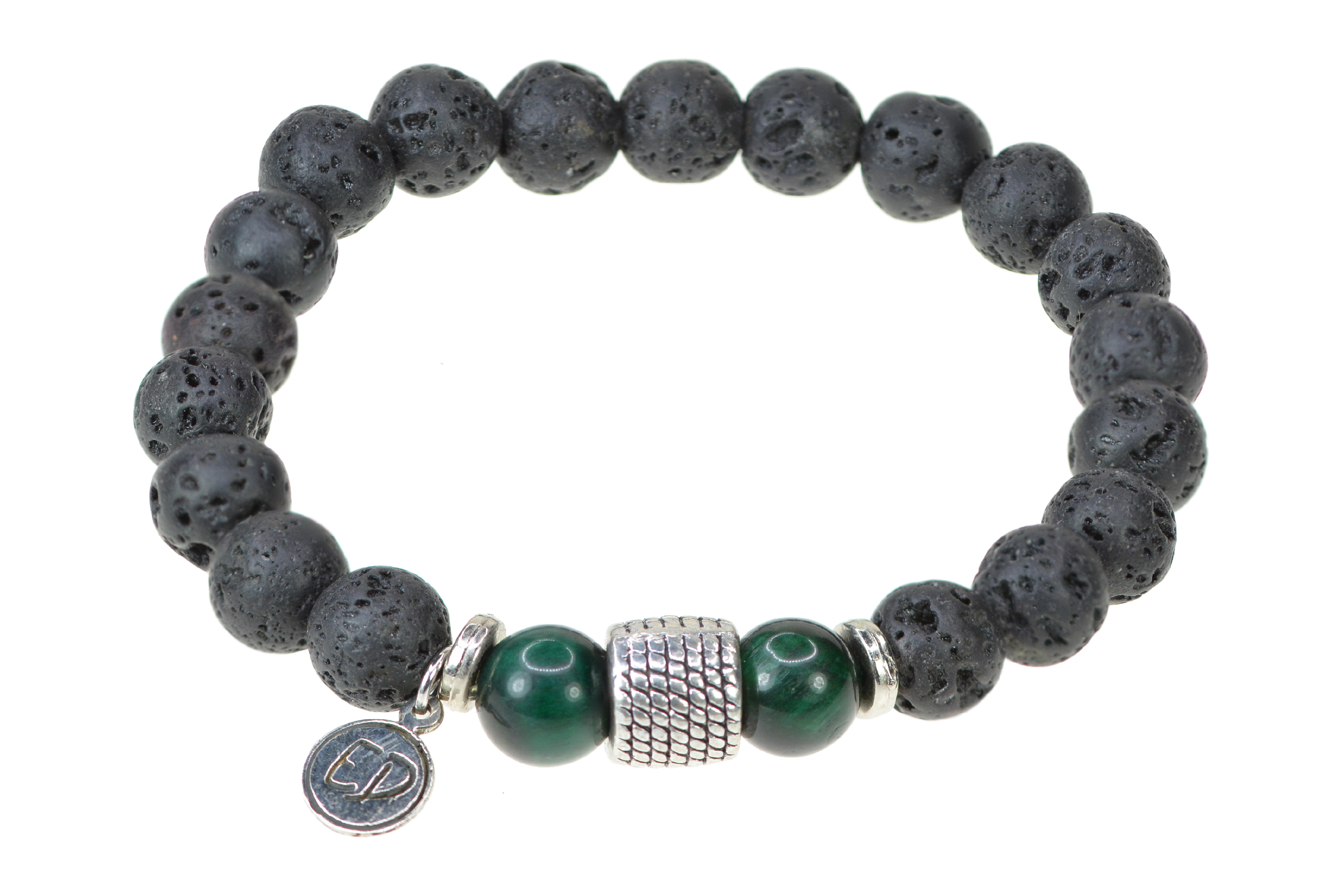 Pánsky náramok z lávového kameňa a korálok zelený achát