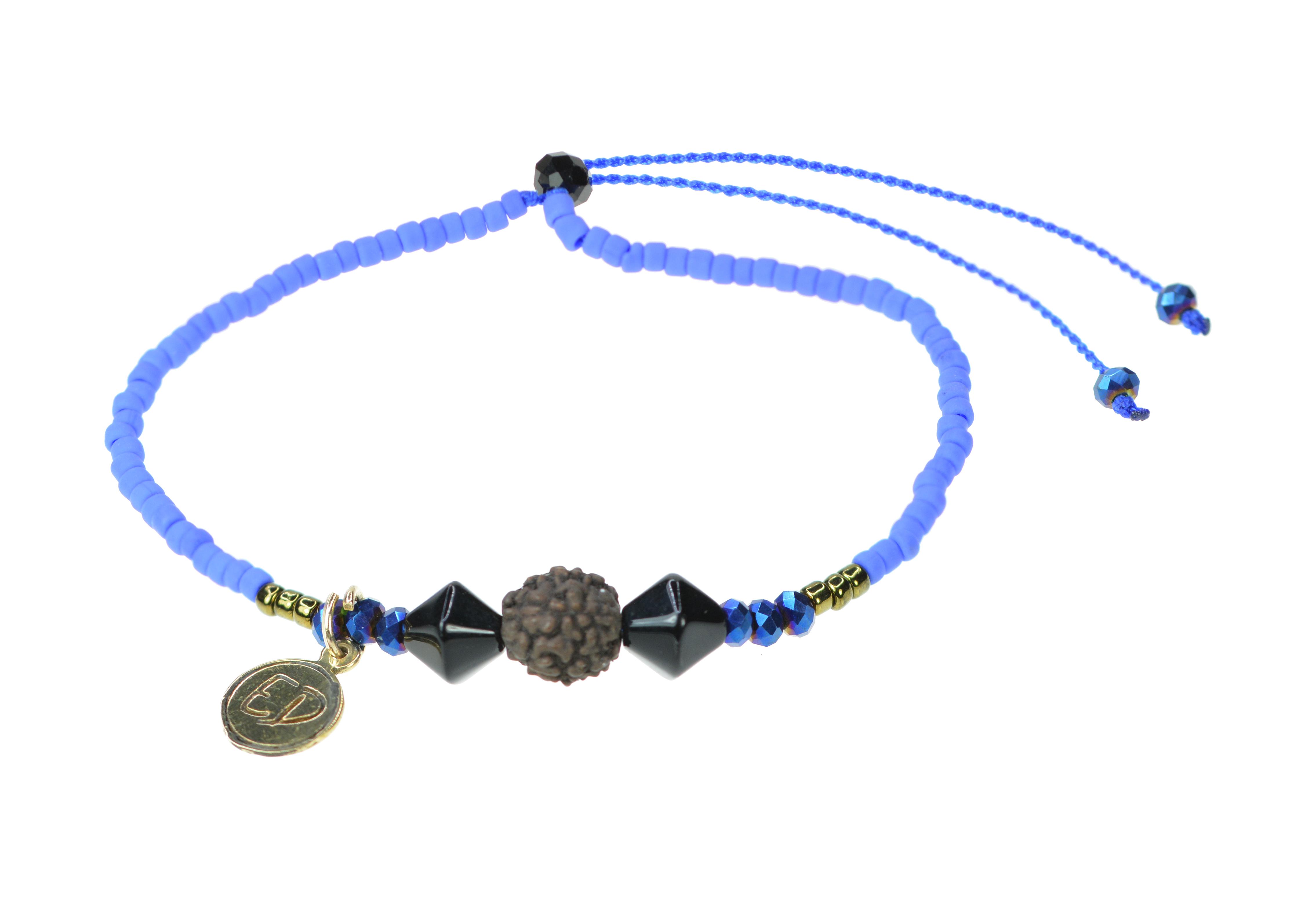 Náramok z japonského rokajlu s korálkou Rudraksha - modrý