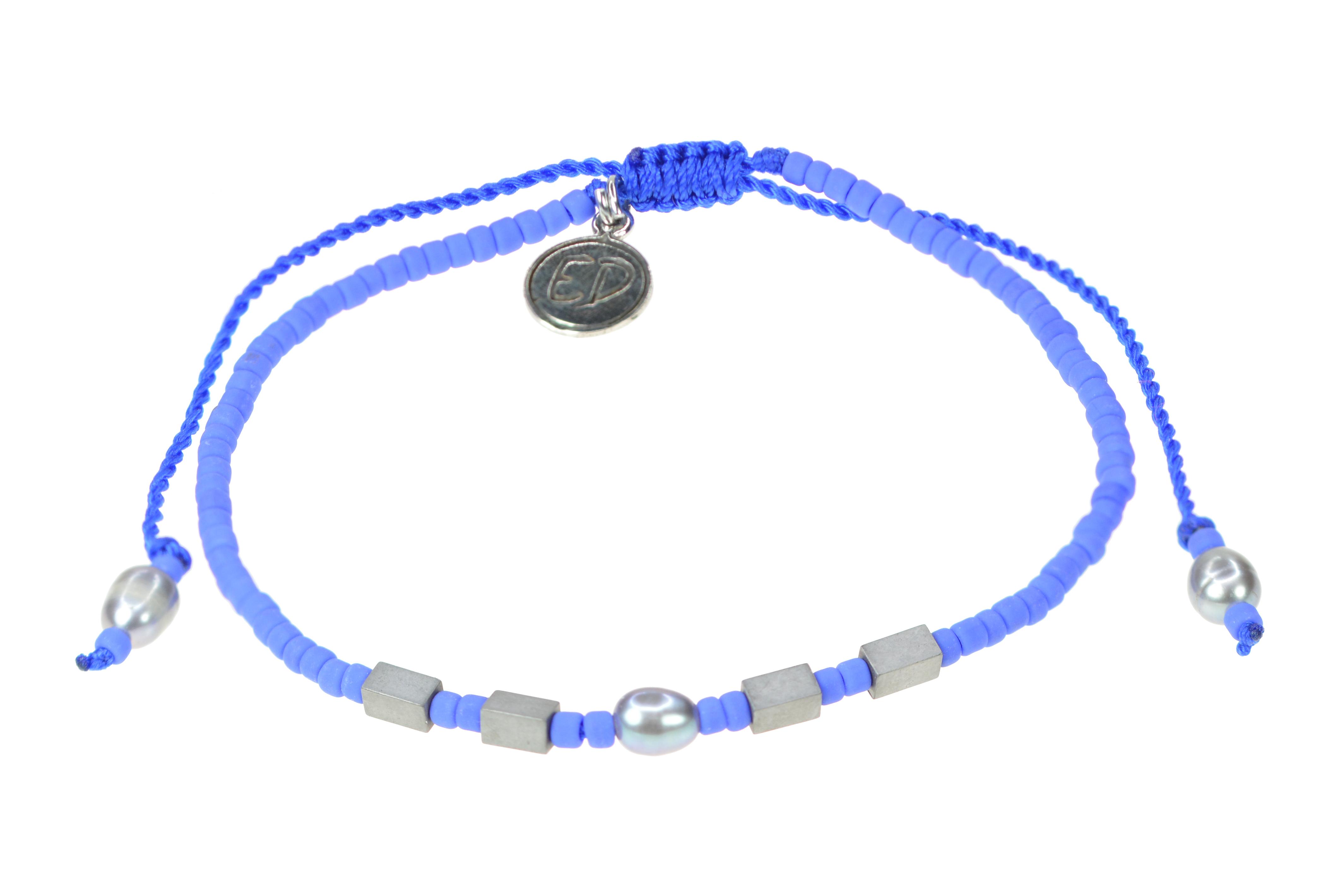Náramok z japonského rokajlu s riečnou perlou a hematitom - fialová