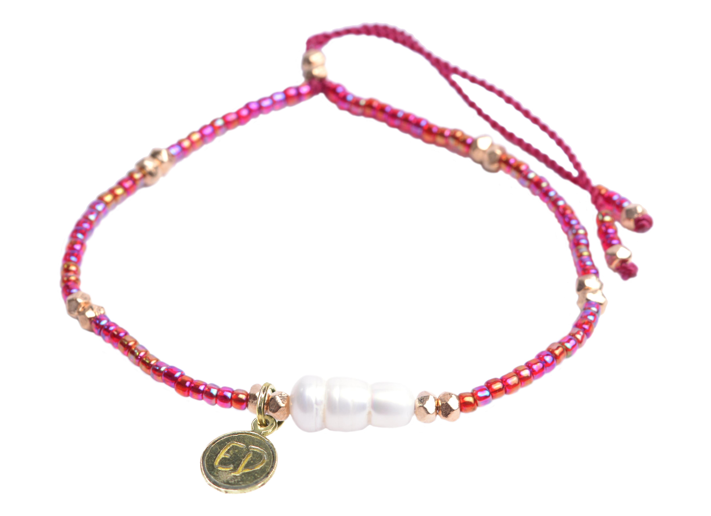 Náramok z japonského rokajlu s riečnou perlou - ružový