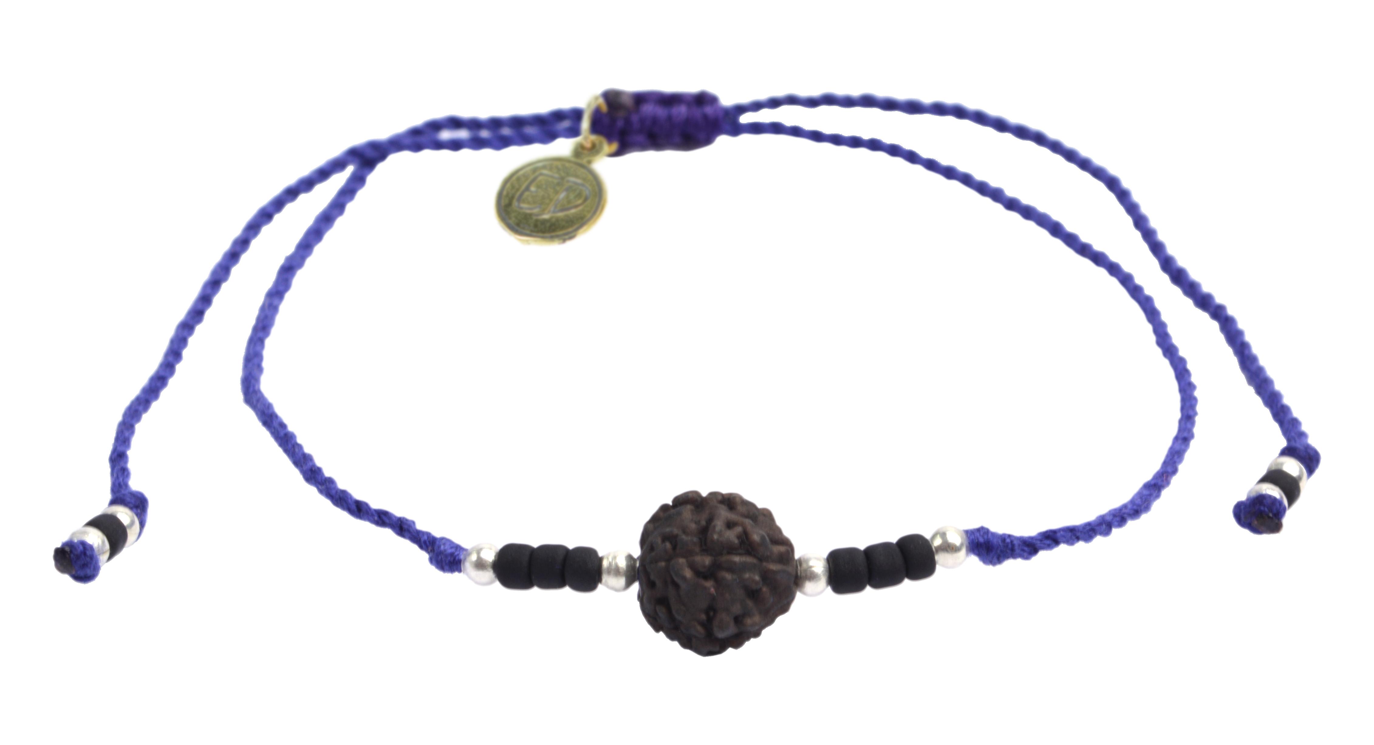 Šnúrkový náramok s tmavou korálkou Rudraksha - fialový