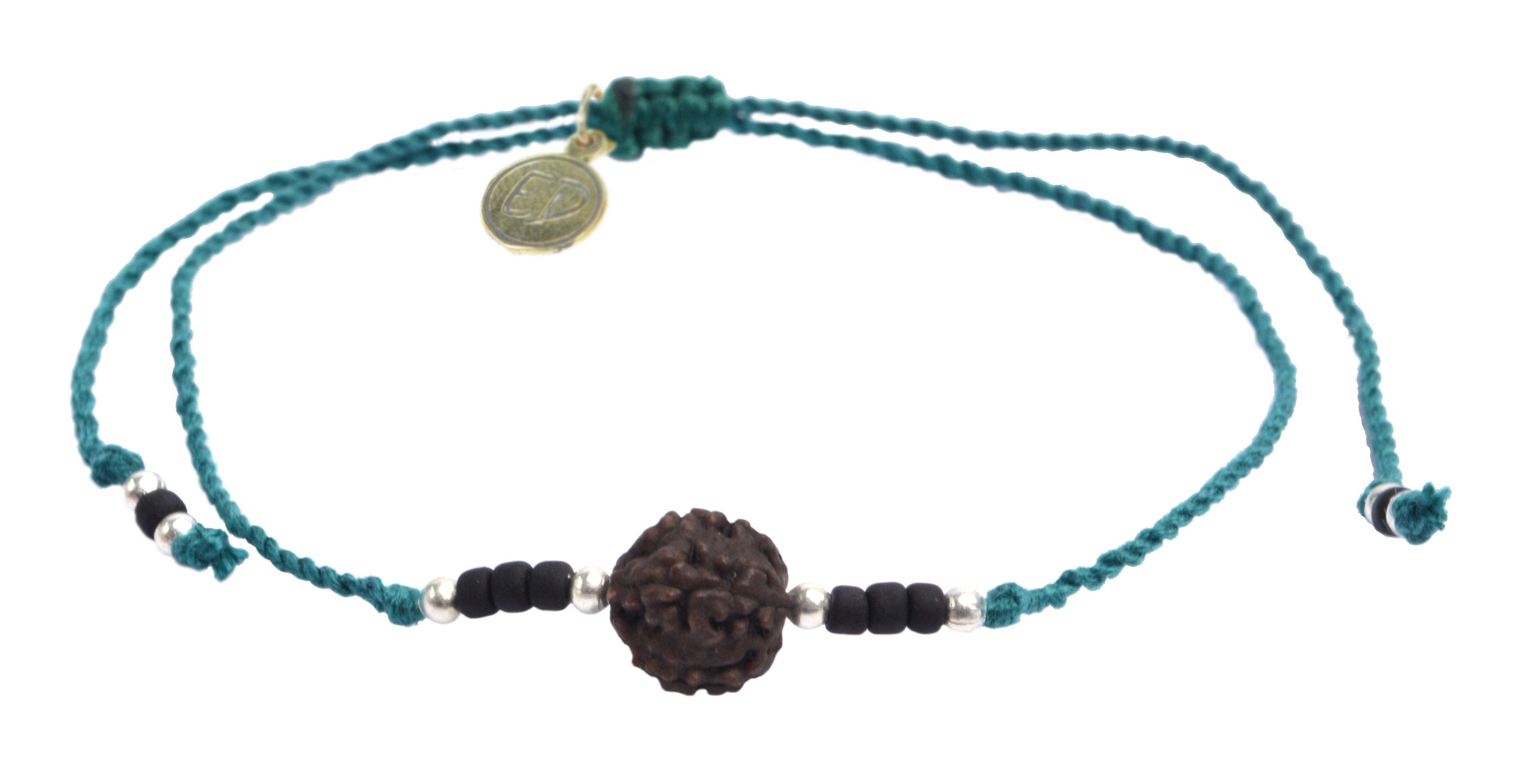 Šnúrkový náramok s tmavou korálkou Rudraksha - zelený