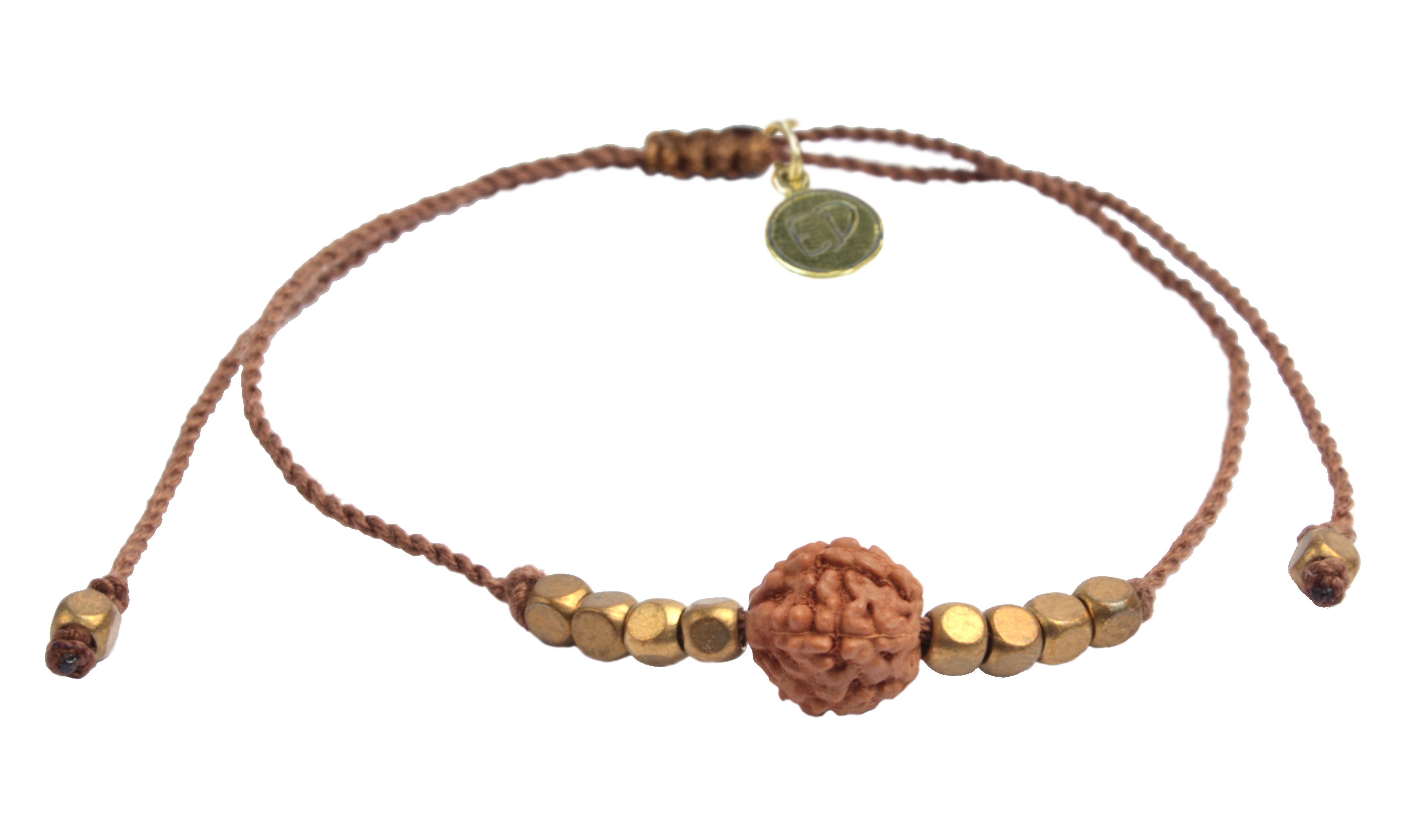 Šnúrkový náramok s korálkou Rudraksha - hnedý