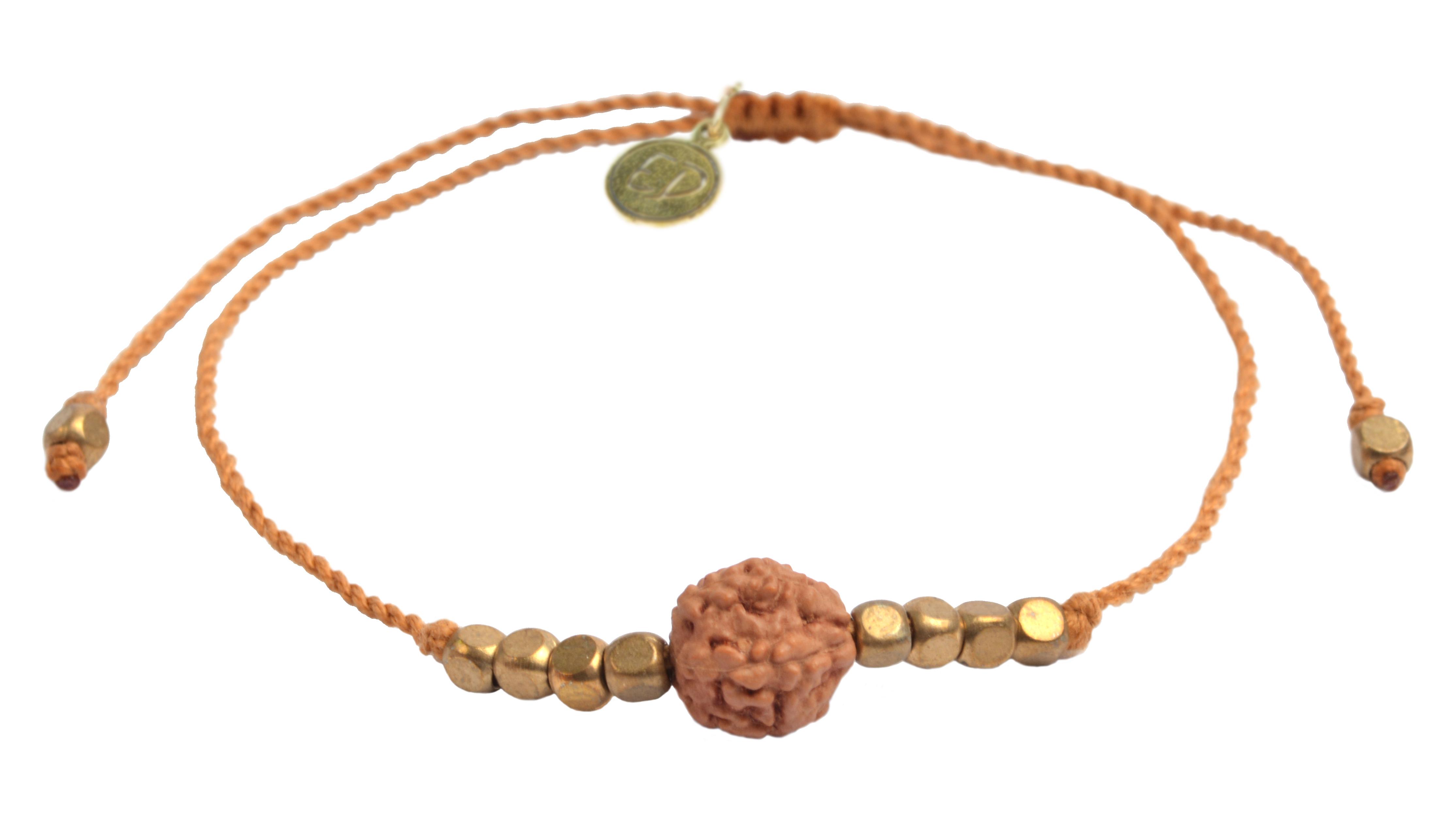 Šnúrkový náramok s korálkou Rudraksha - oranžový