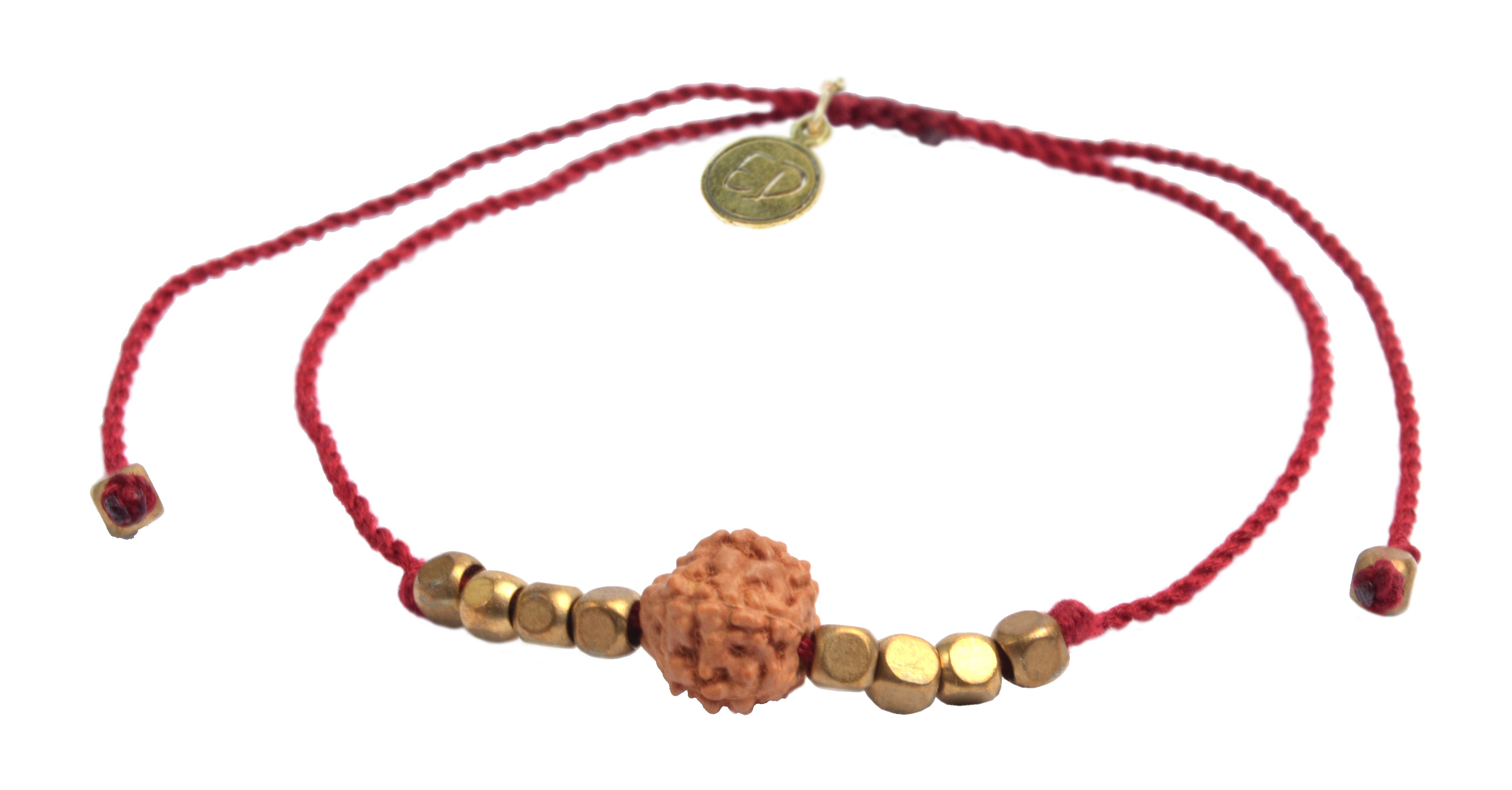 Šnúrkový náramok s korálkou Rudraksha - červený