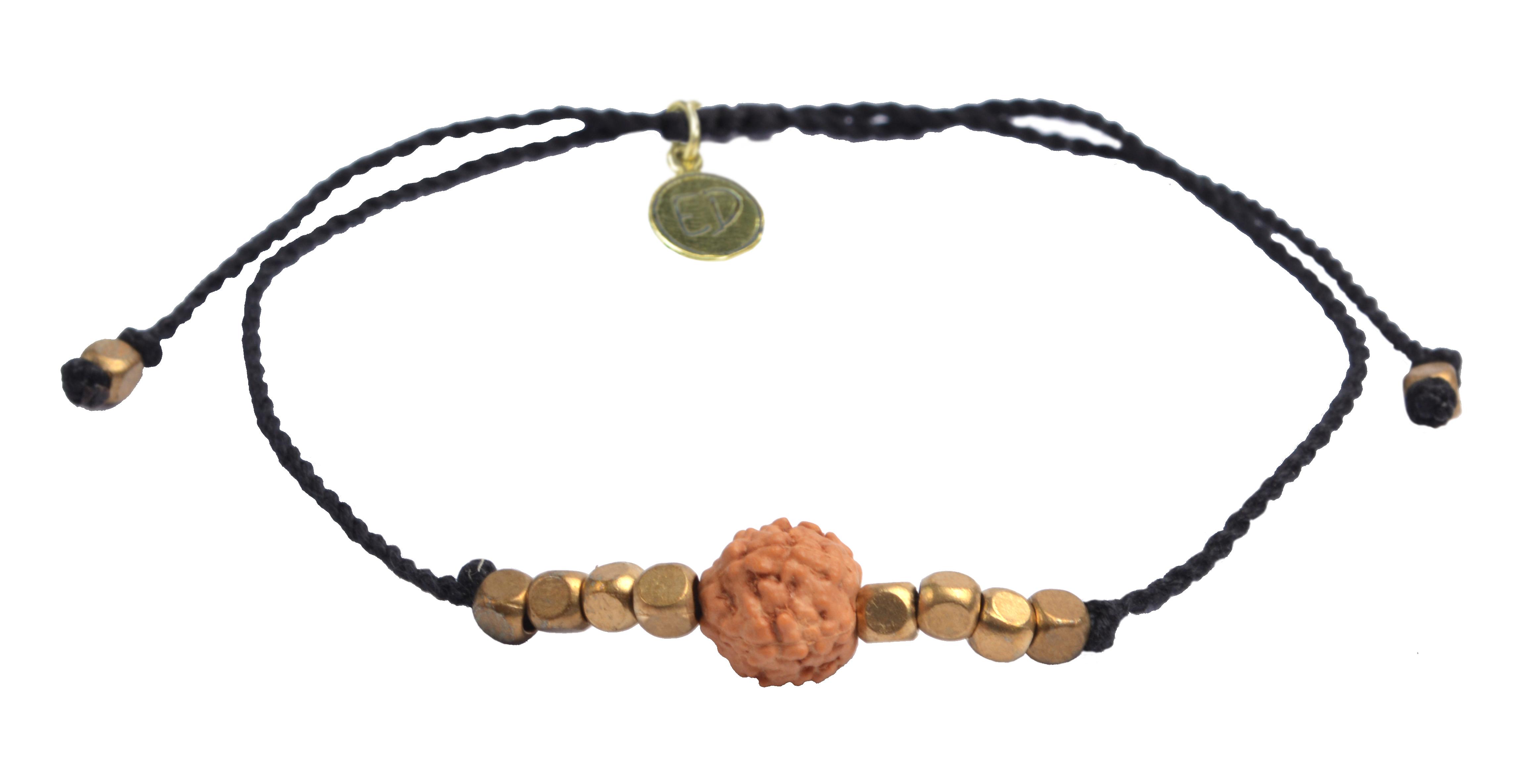 Šnúrkový náramok s korálkou Rudraksha - čierny