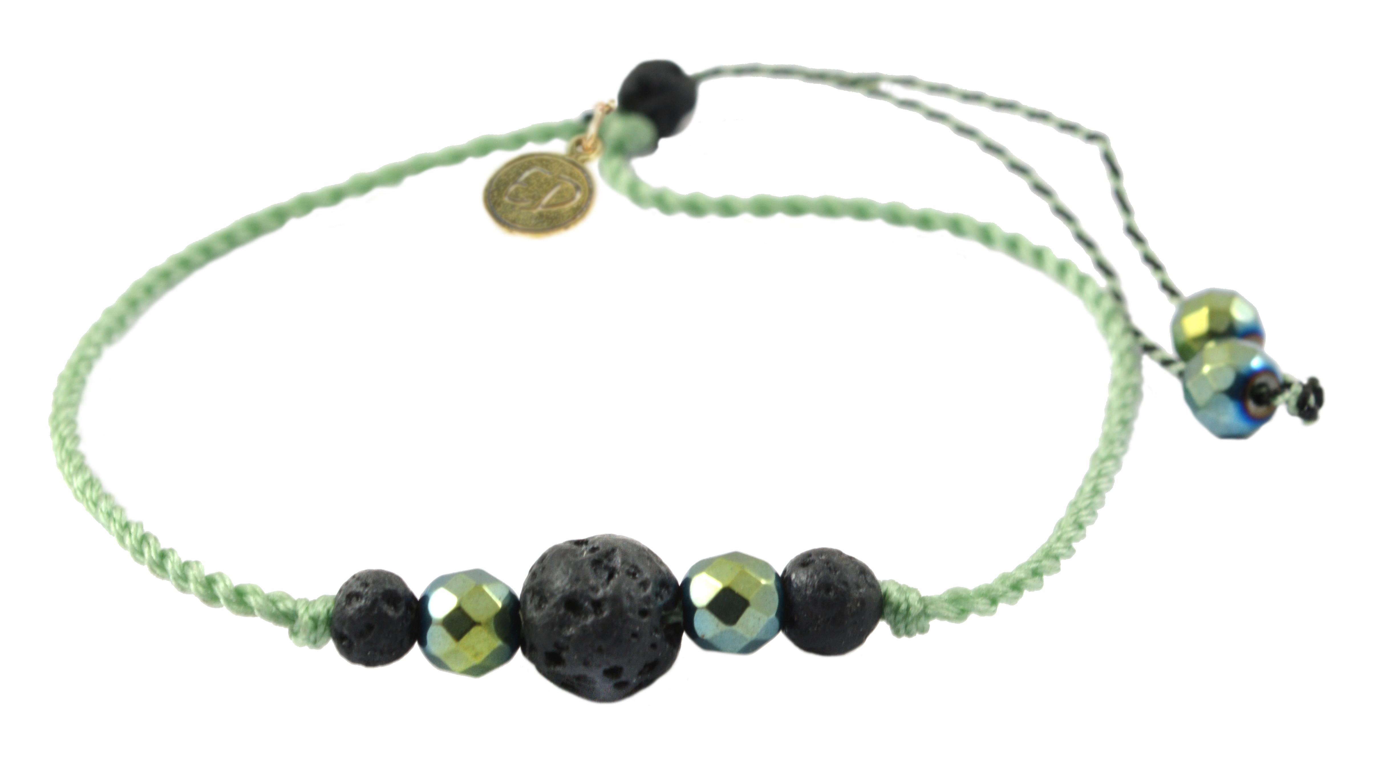 Šnúrkový náramok s lávovým kameňom a hematitom - zelený