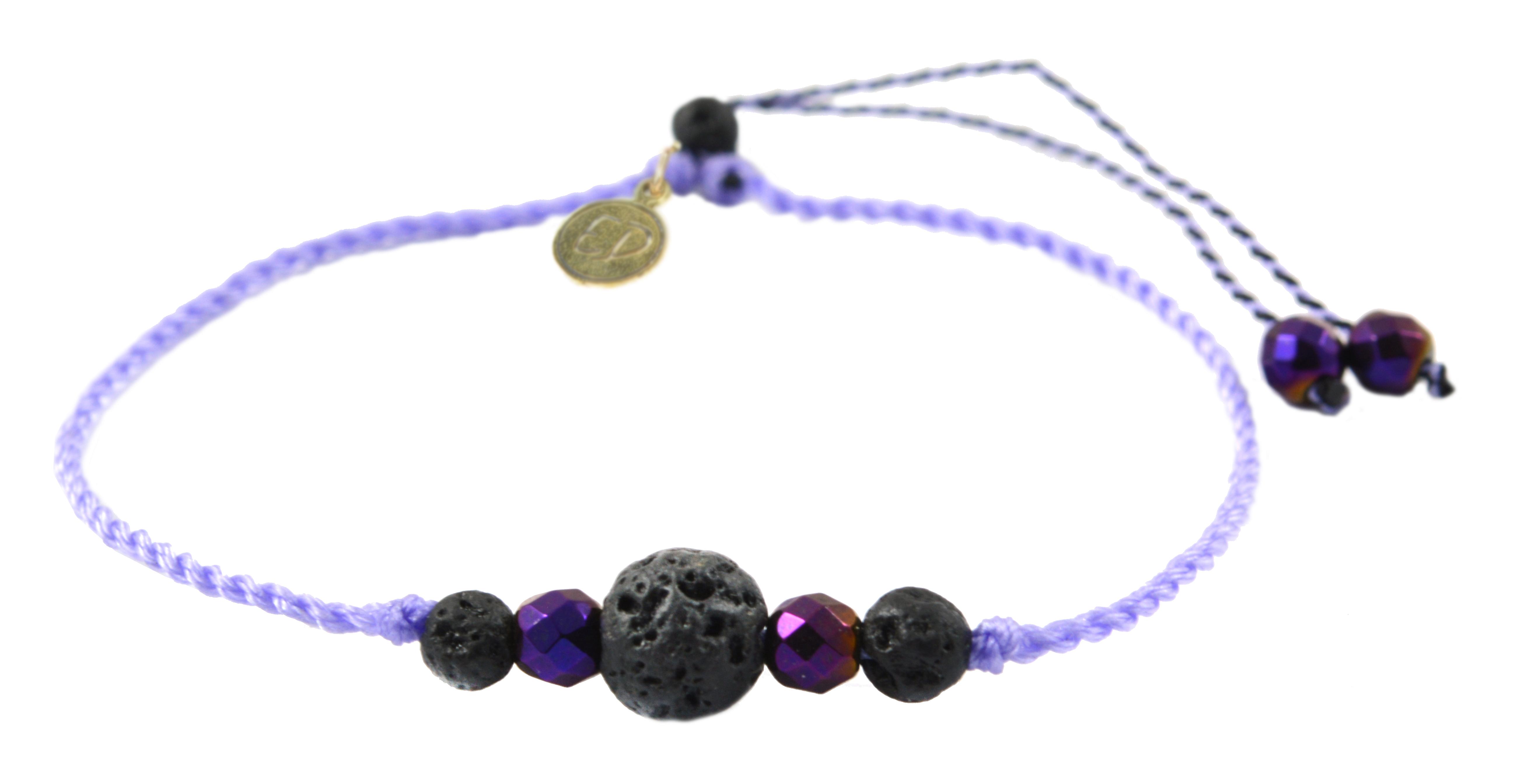 Šnúrkový náramok s lávovým kameňom a hematitom - fialový