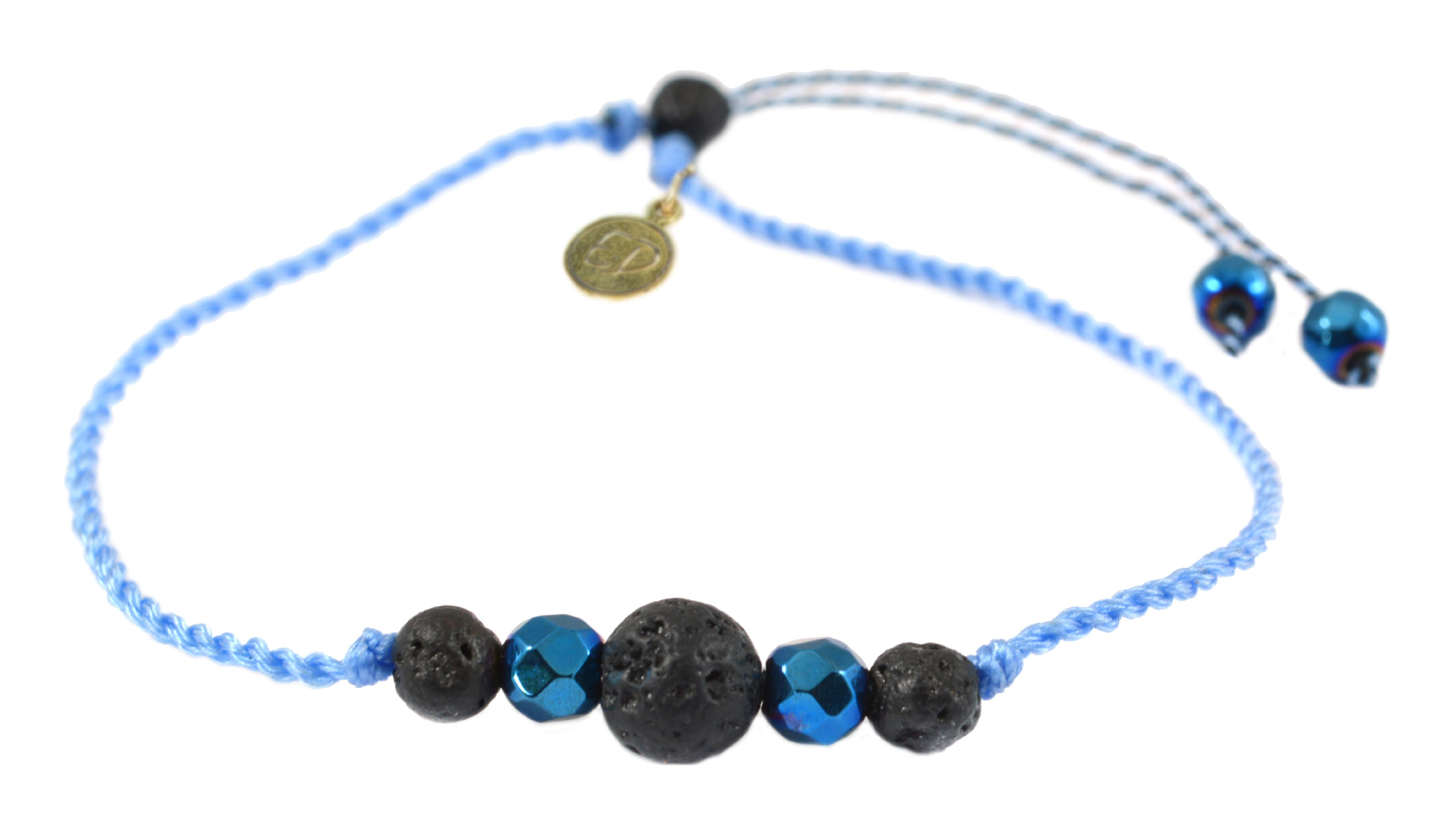 Šnúrkový náramok s lávovým kameňom a hematitom - modrý