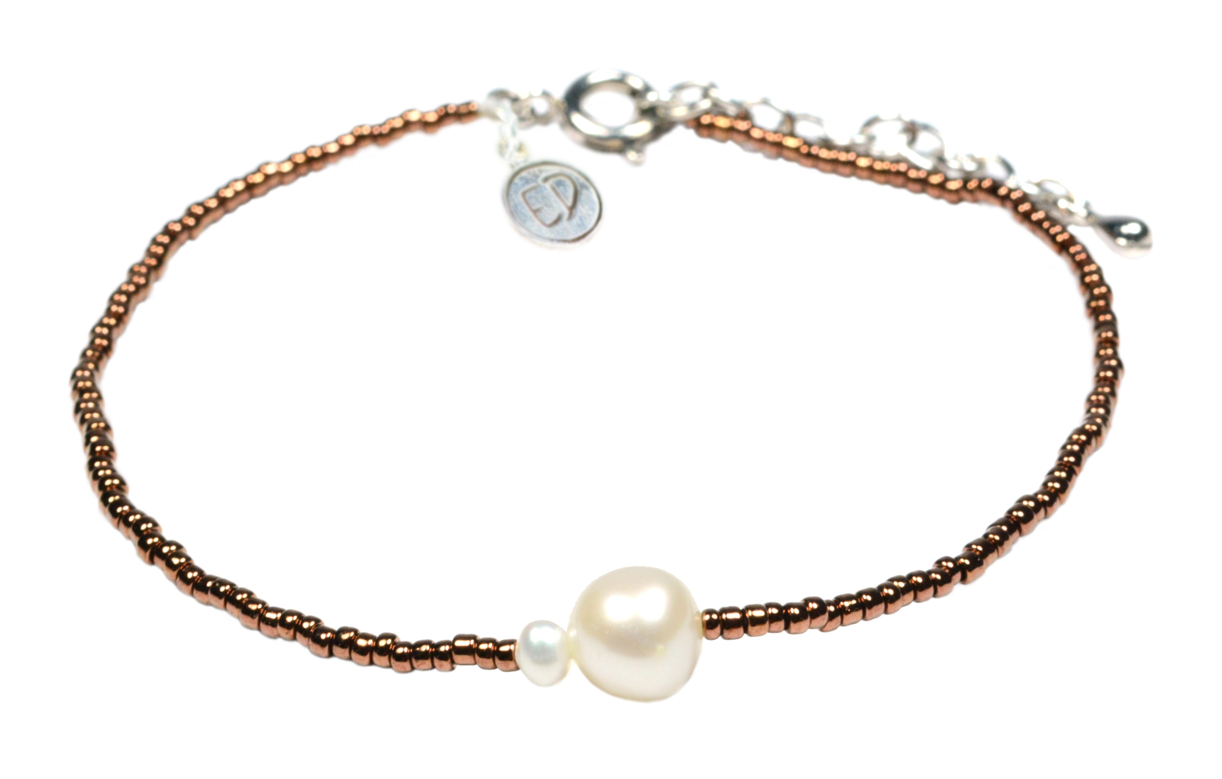 Náramok z japonského rokajlu s riečnymi perlami - bronzový