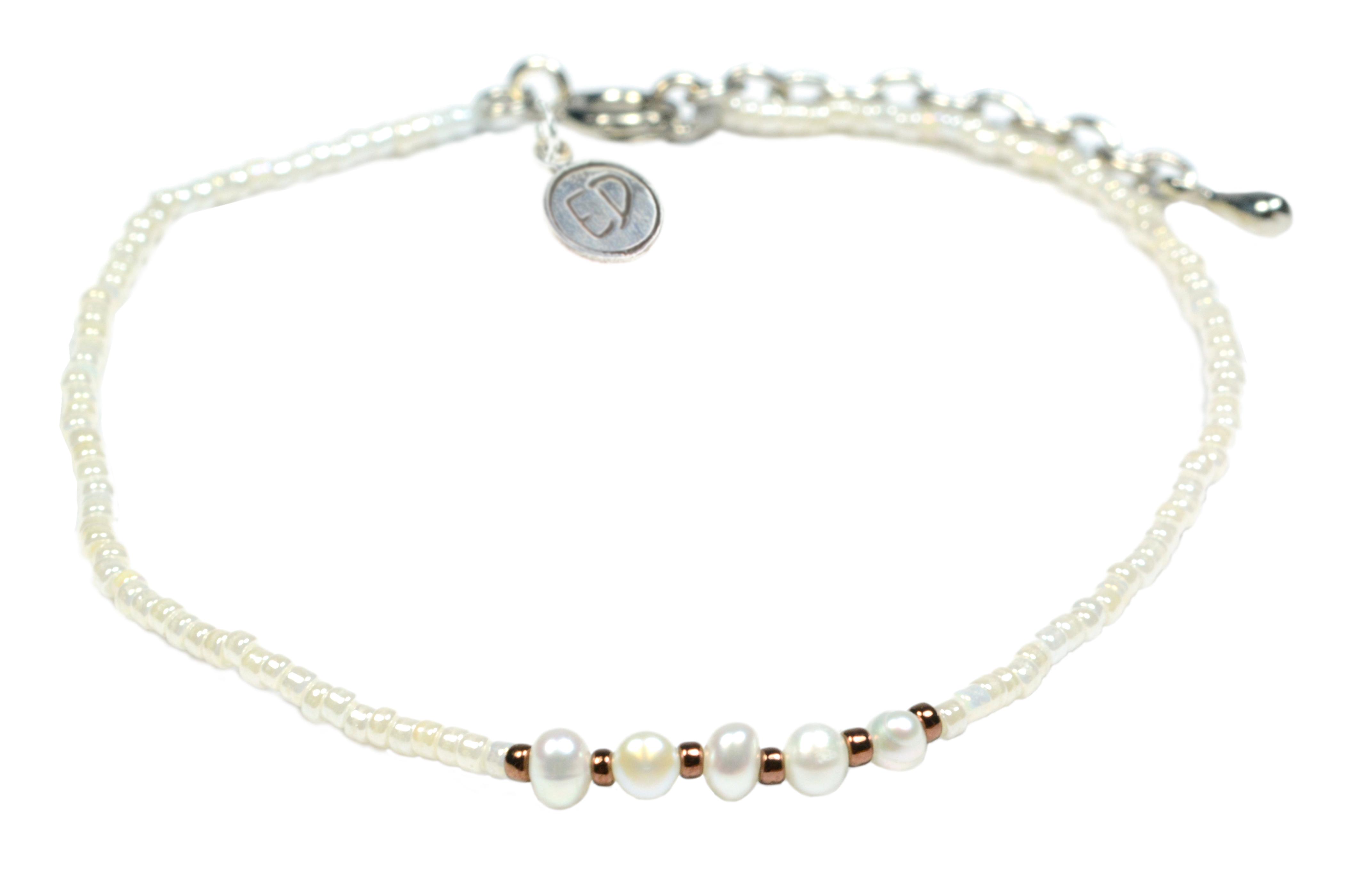 Náramok z japonského rokajlu s riečnymi perlami - biely