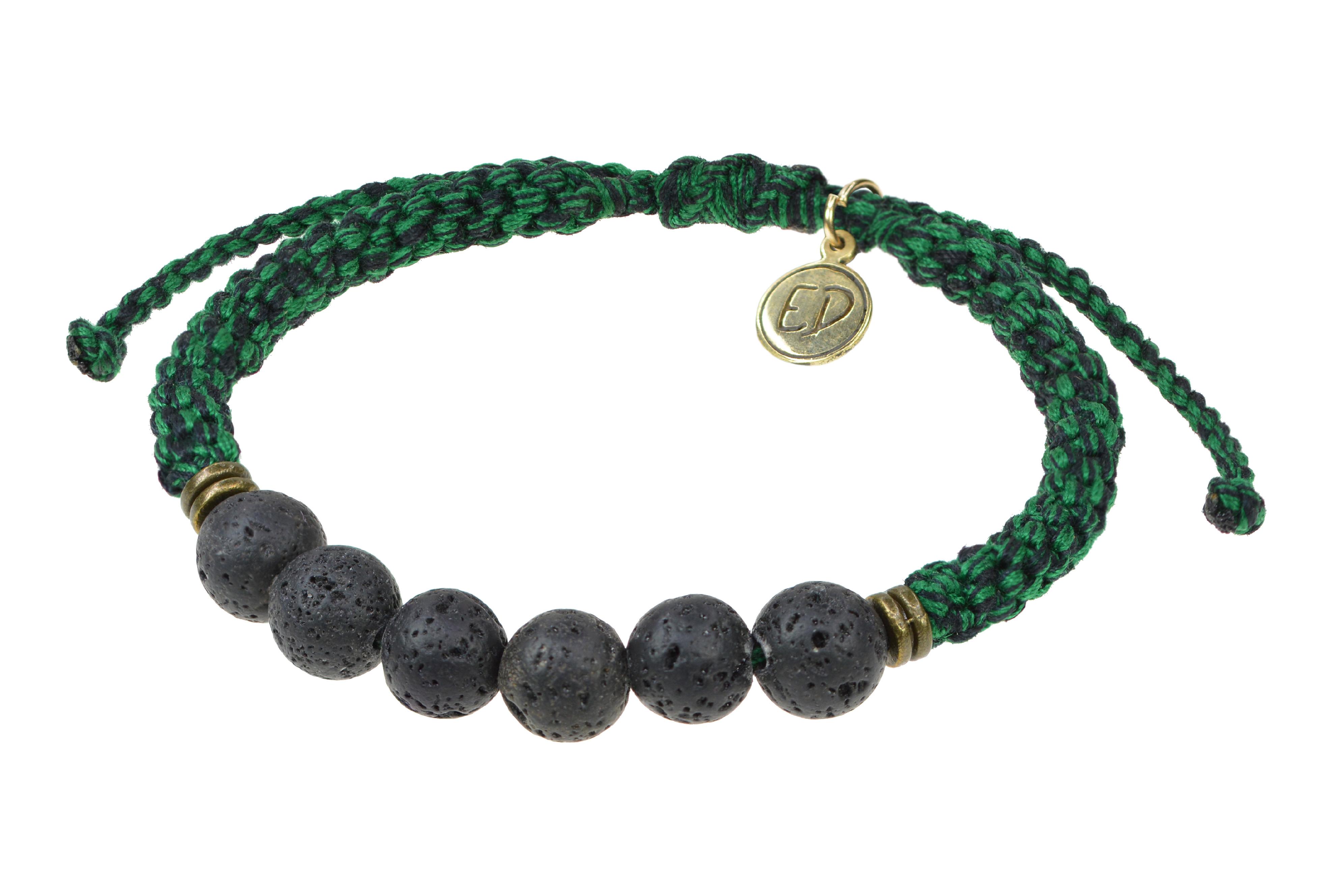 Pánsky pletený náramok s lávovými kameňmi - zelený
