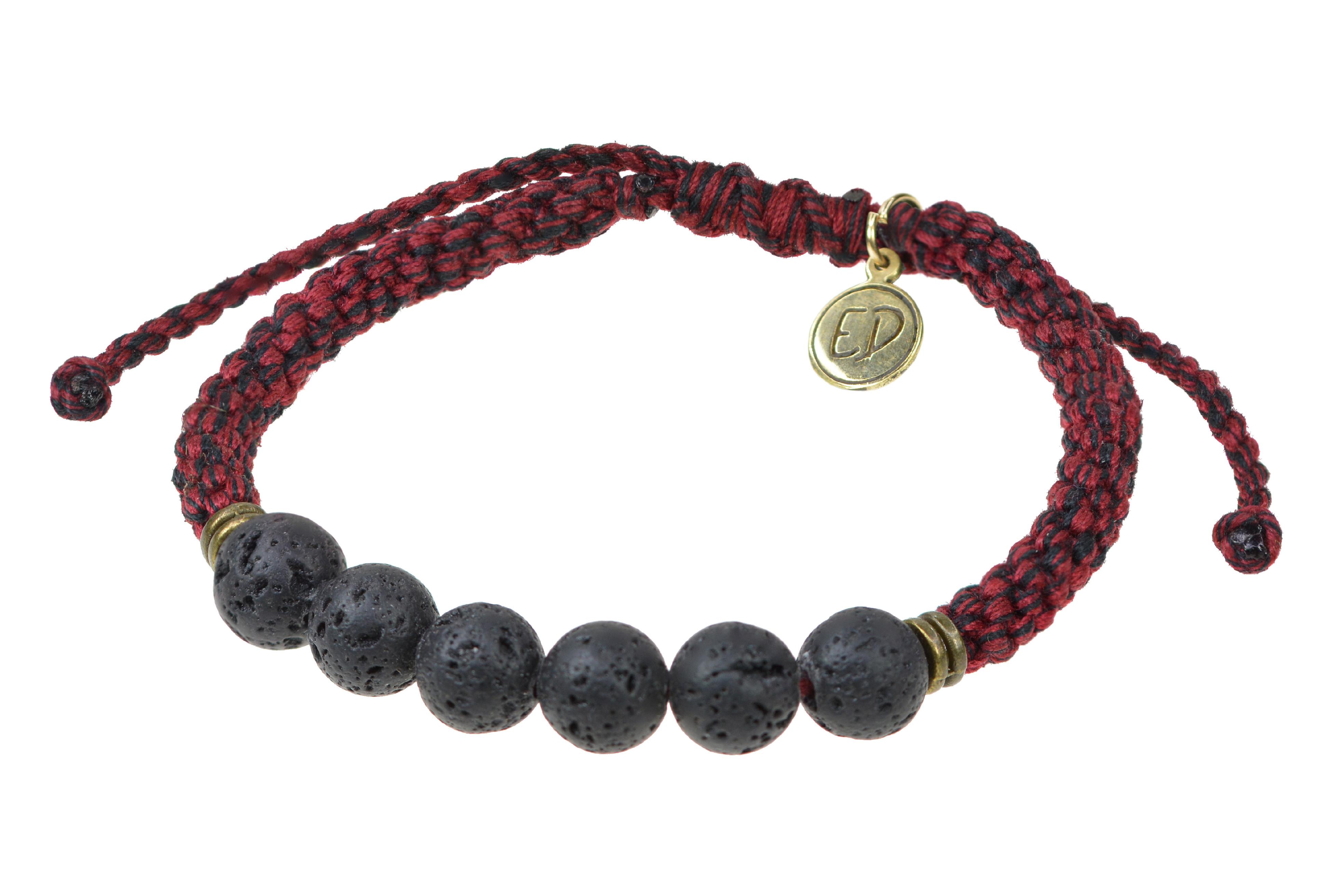 Pánsky pletený náramok s lávovými kameňmi - červený