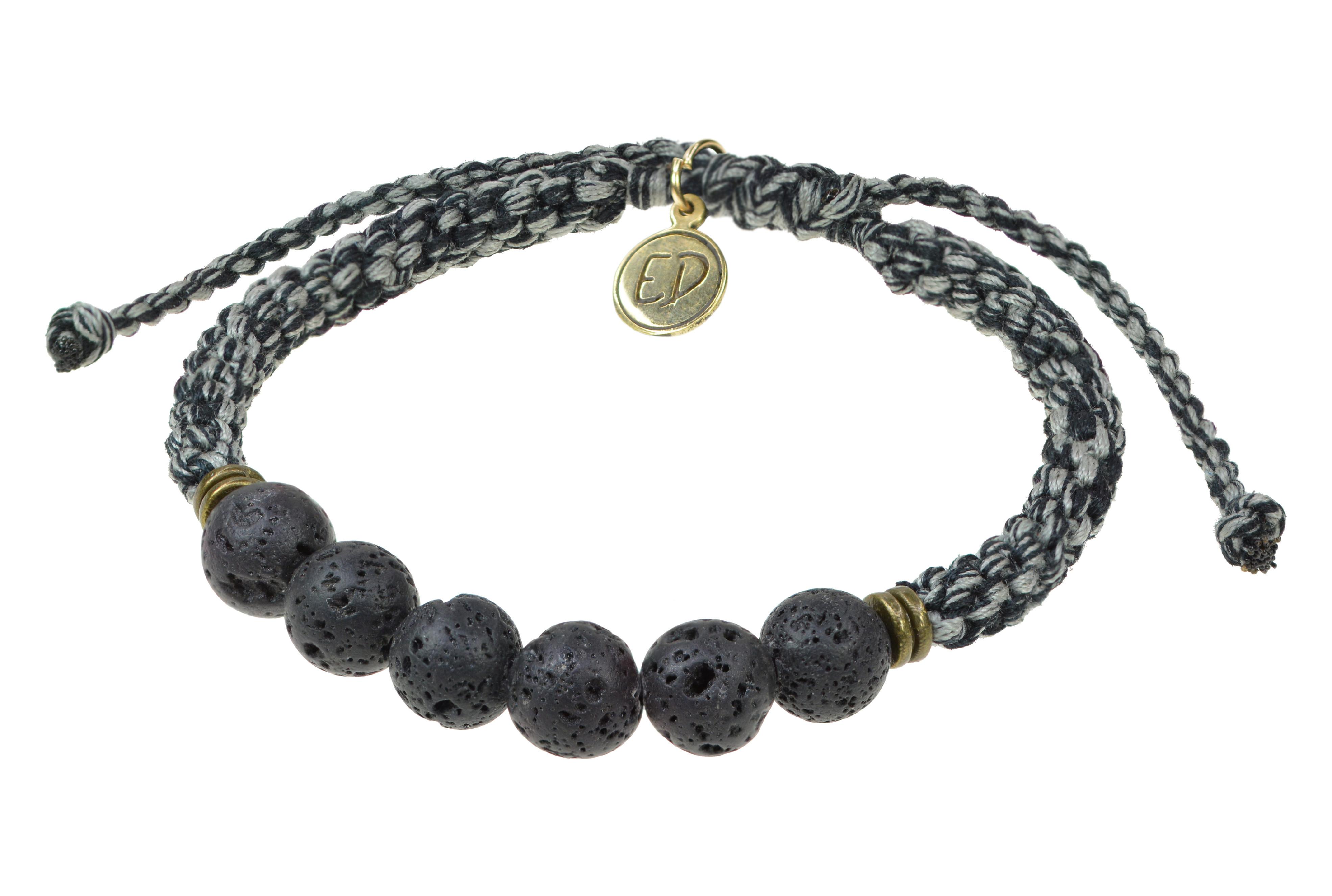 Pánsky pletený náramok s lávovými kameňmi - sivý