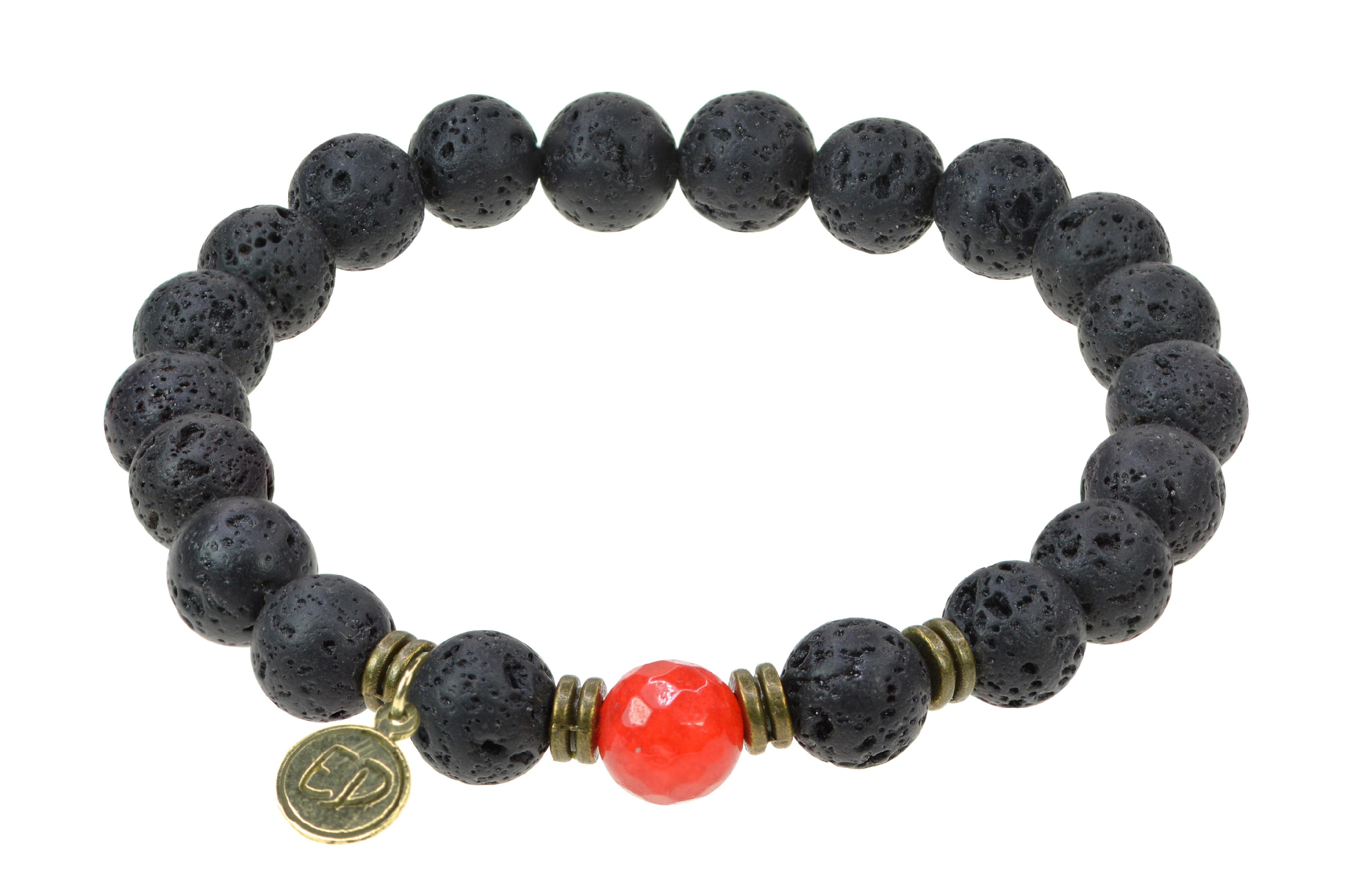 Pánsky náramok s lávovými kameňmi a červeným achátom