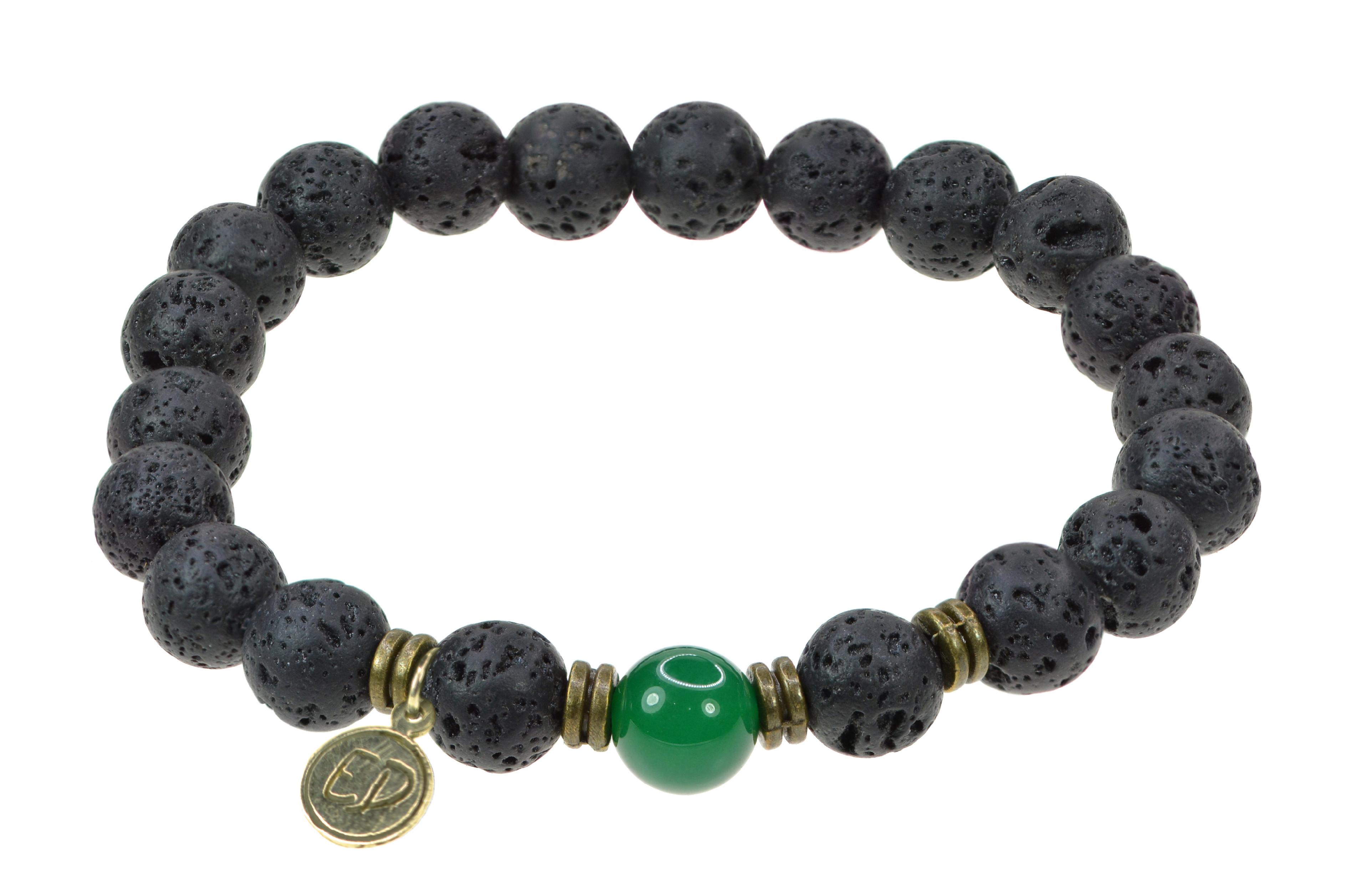 Pánsky náramok s lávovými kameňmi a zeleným achátom