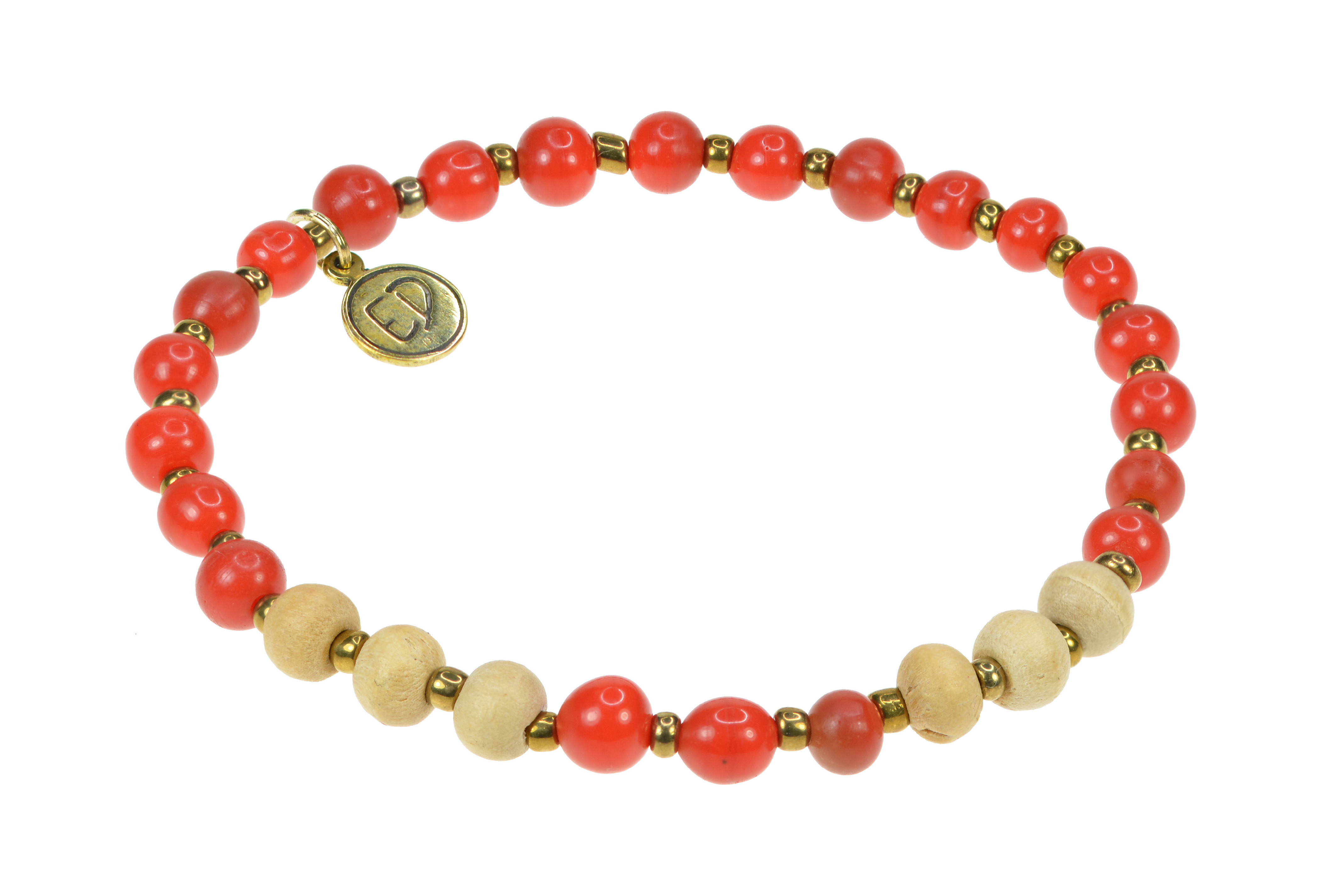 Dámsky náramok z jávskych korálok - červený