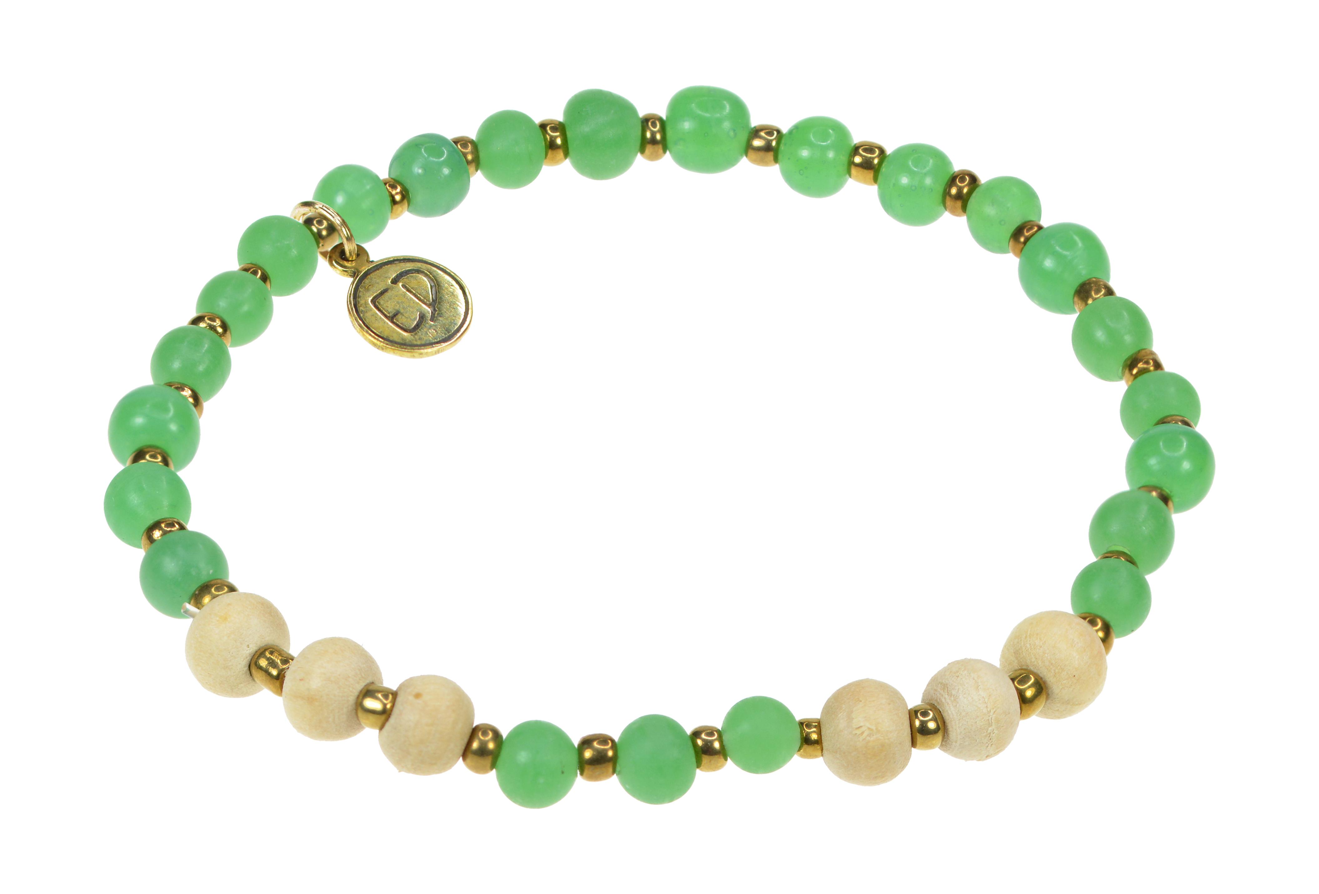 Dámsky náramok z jávskych korálok - zelený