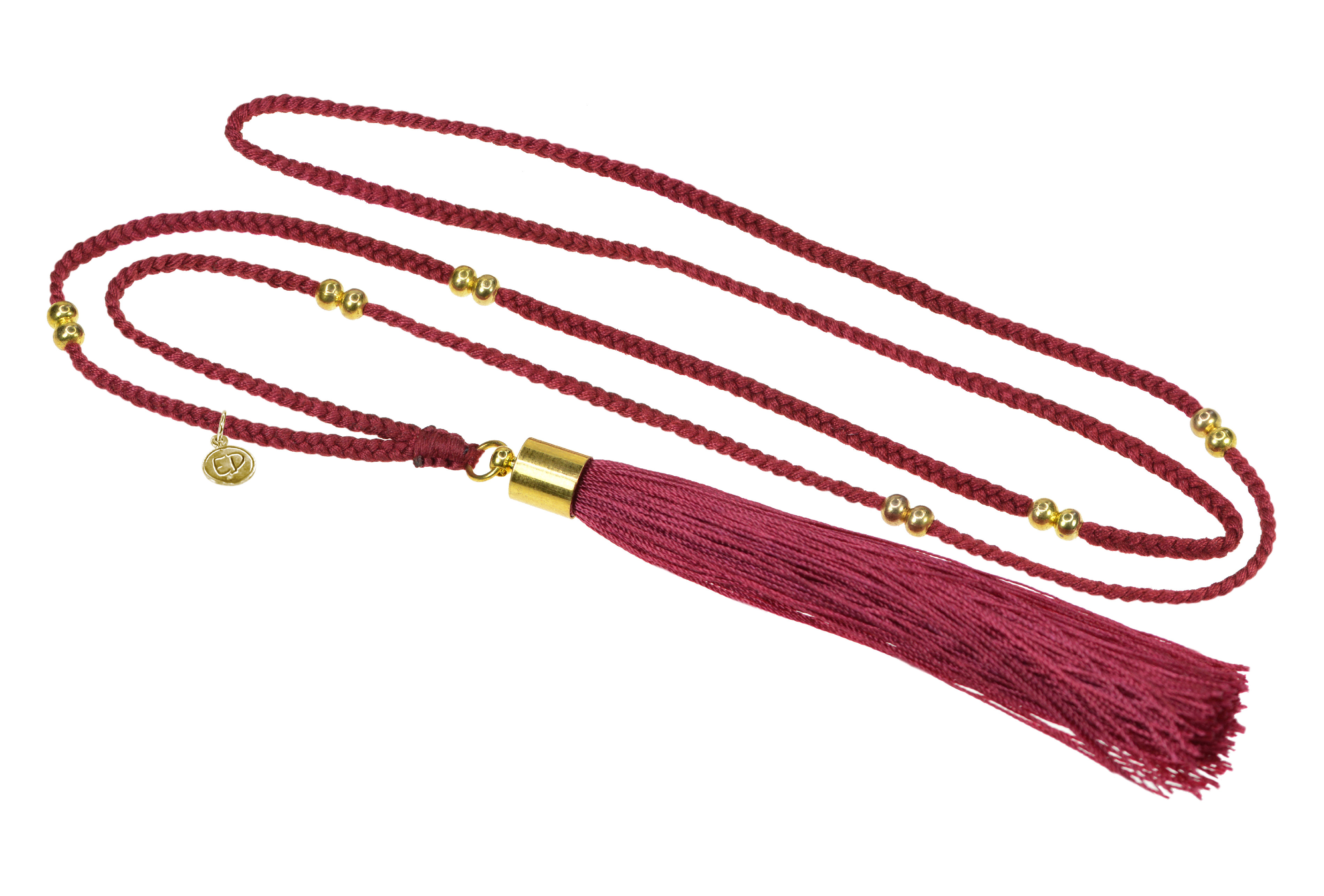 Dámsky prírodný náhrdelník so strapcovým príveskom - vínový
