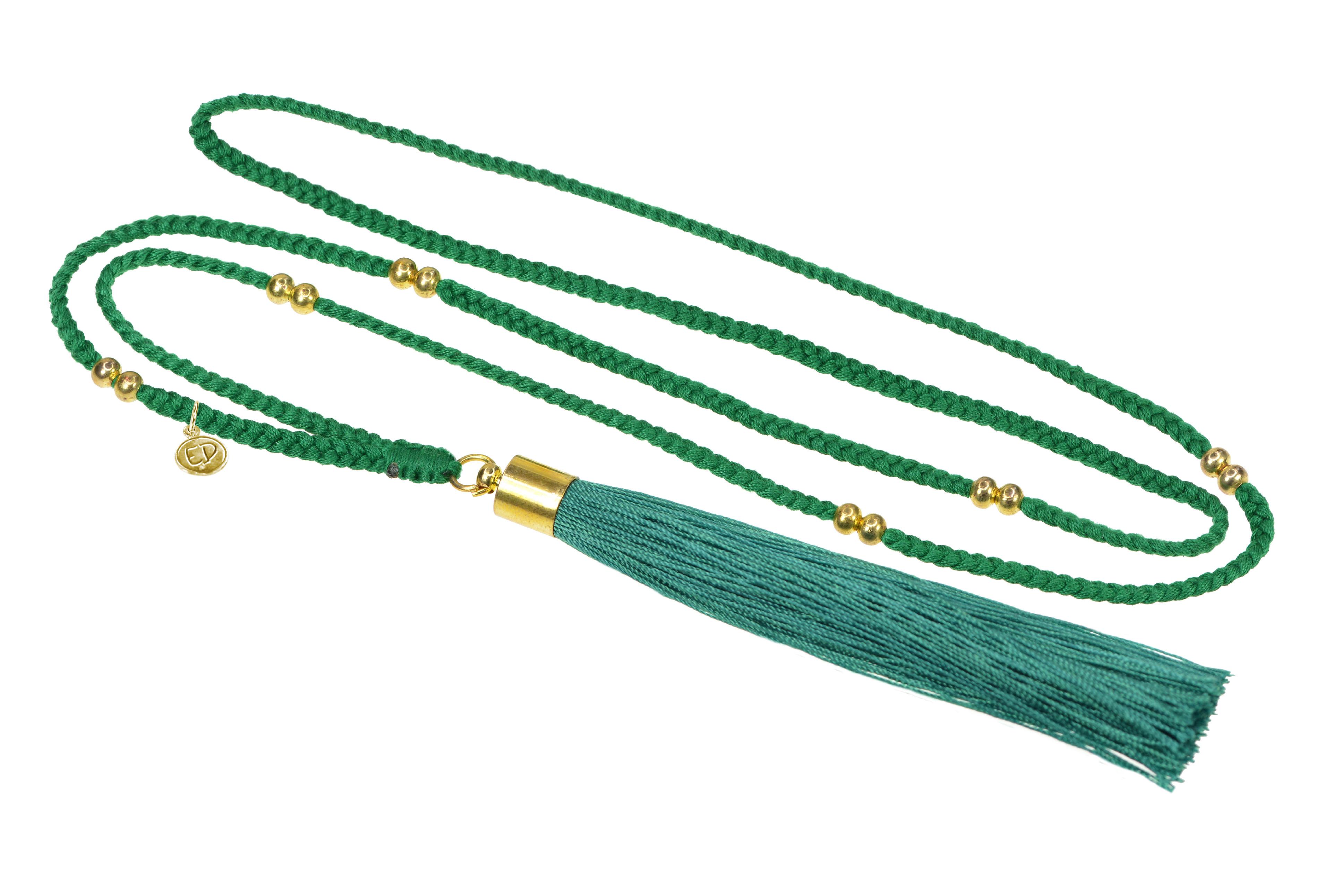Dámsky prírodný náhrdelník so strapcovým príveskom - zelený