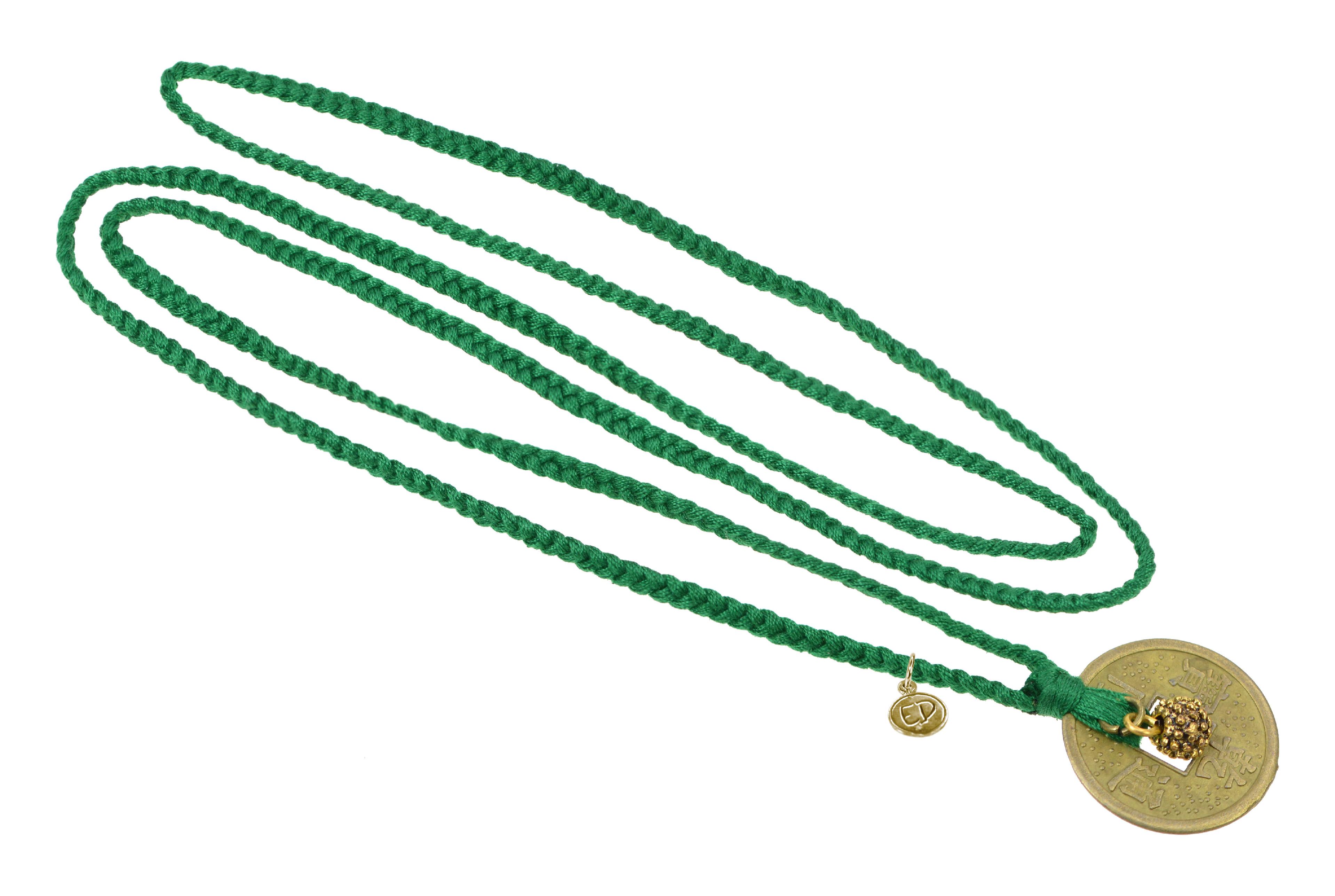 Dámsky prírodný náhrdelník s príveskom minca - zelený