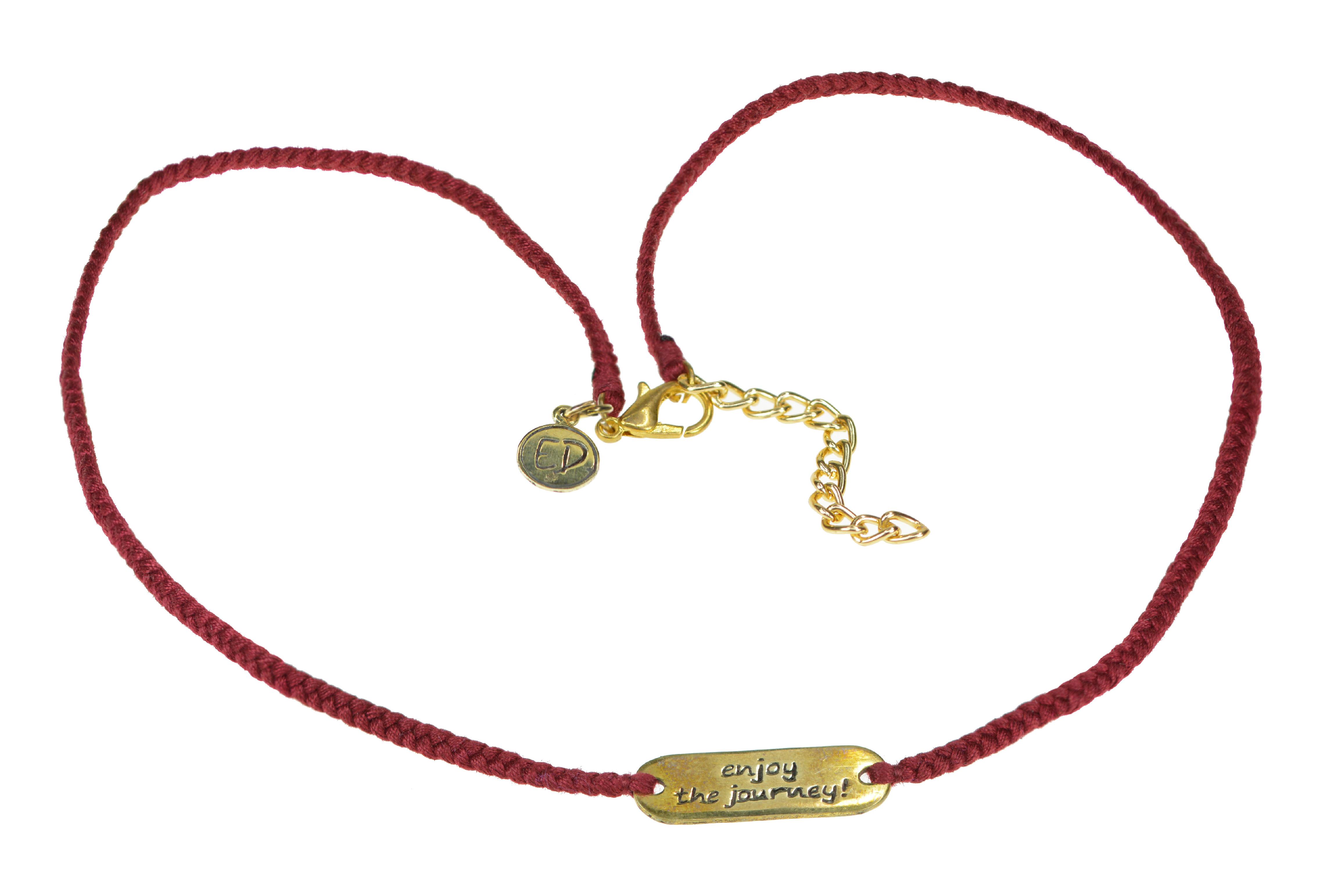 """Dámsky ručne pletený náhrdelník """"Enjoy The Journey"""" - červený"""