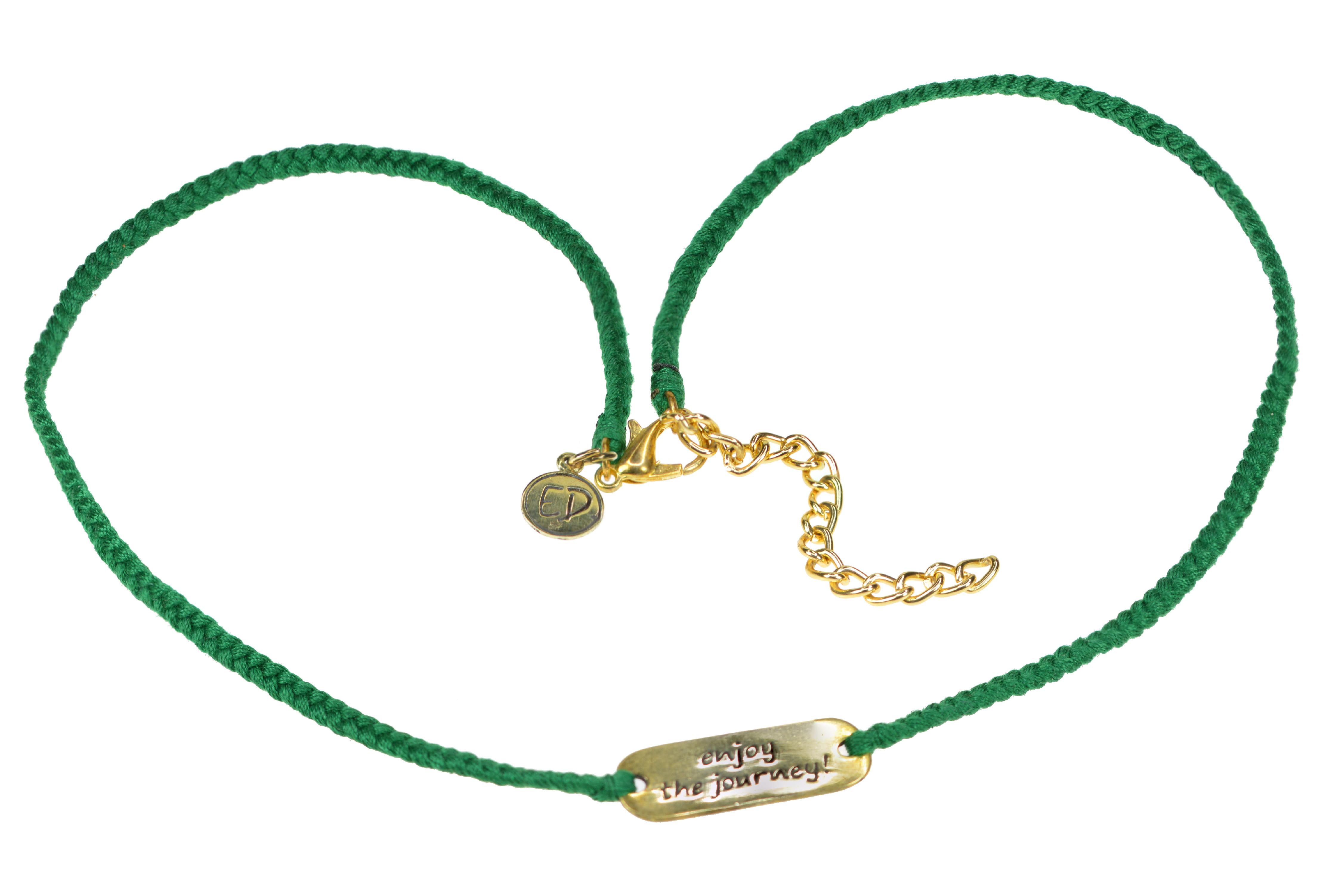 """Dámsky ručne pletený náhrdelník """"Enjoy The Journey"""" - zelený"""
