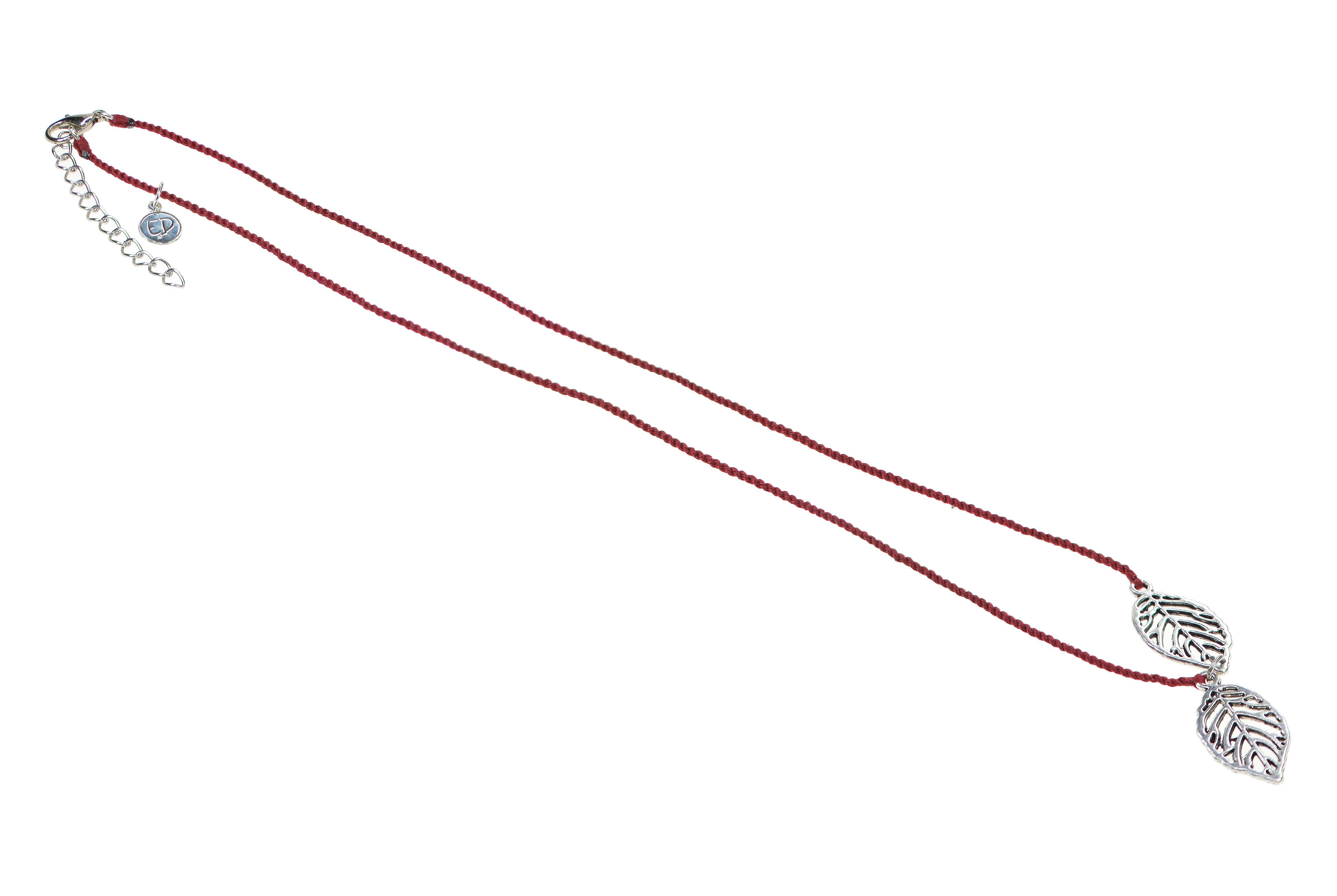 Dámsky prírodný náhrdelník s príveskom list - vínový