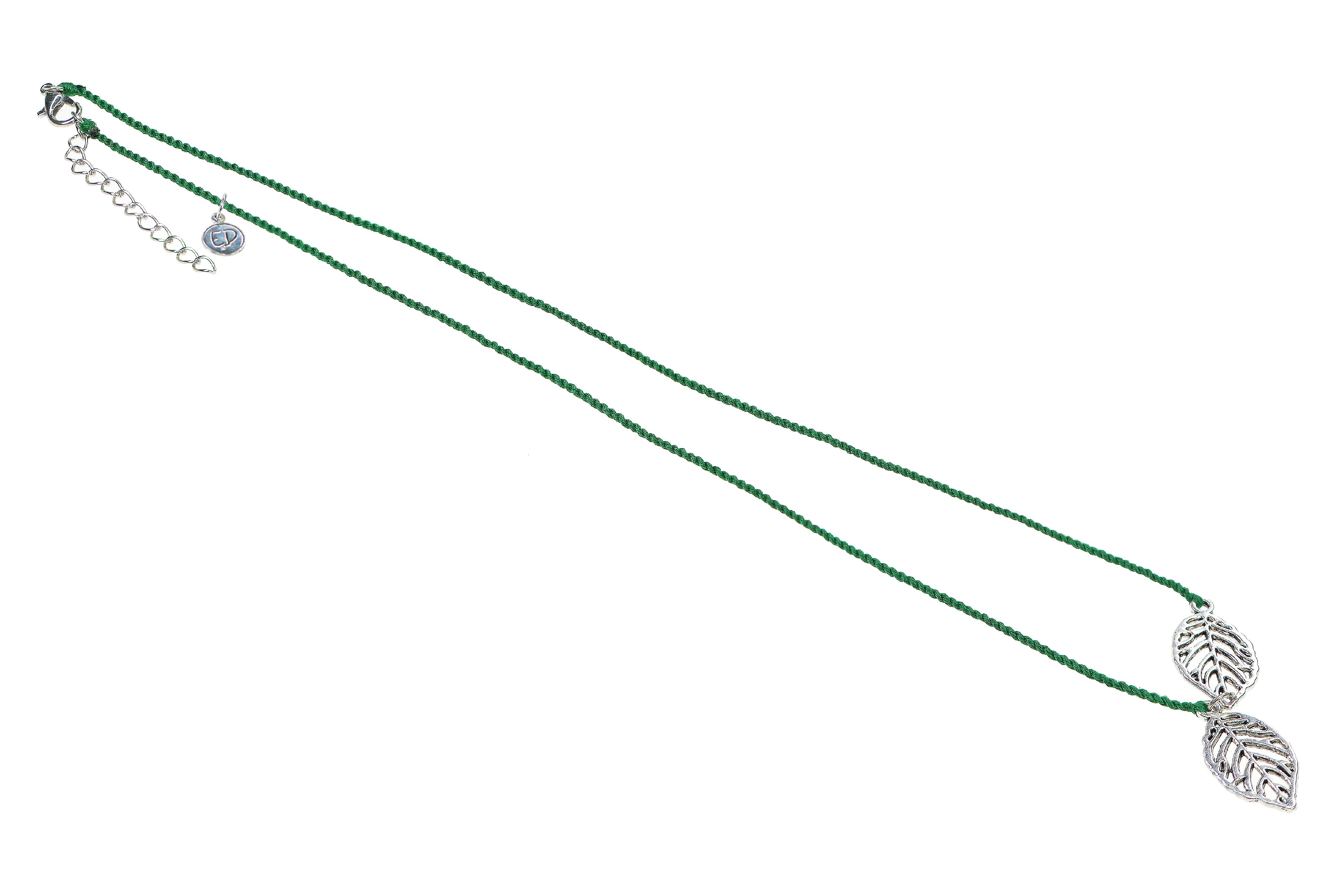 Dámsky prírodný náhrdelník s príveskom list - zelený