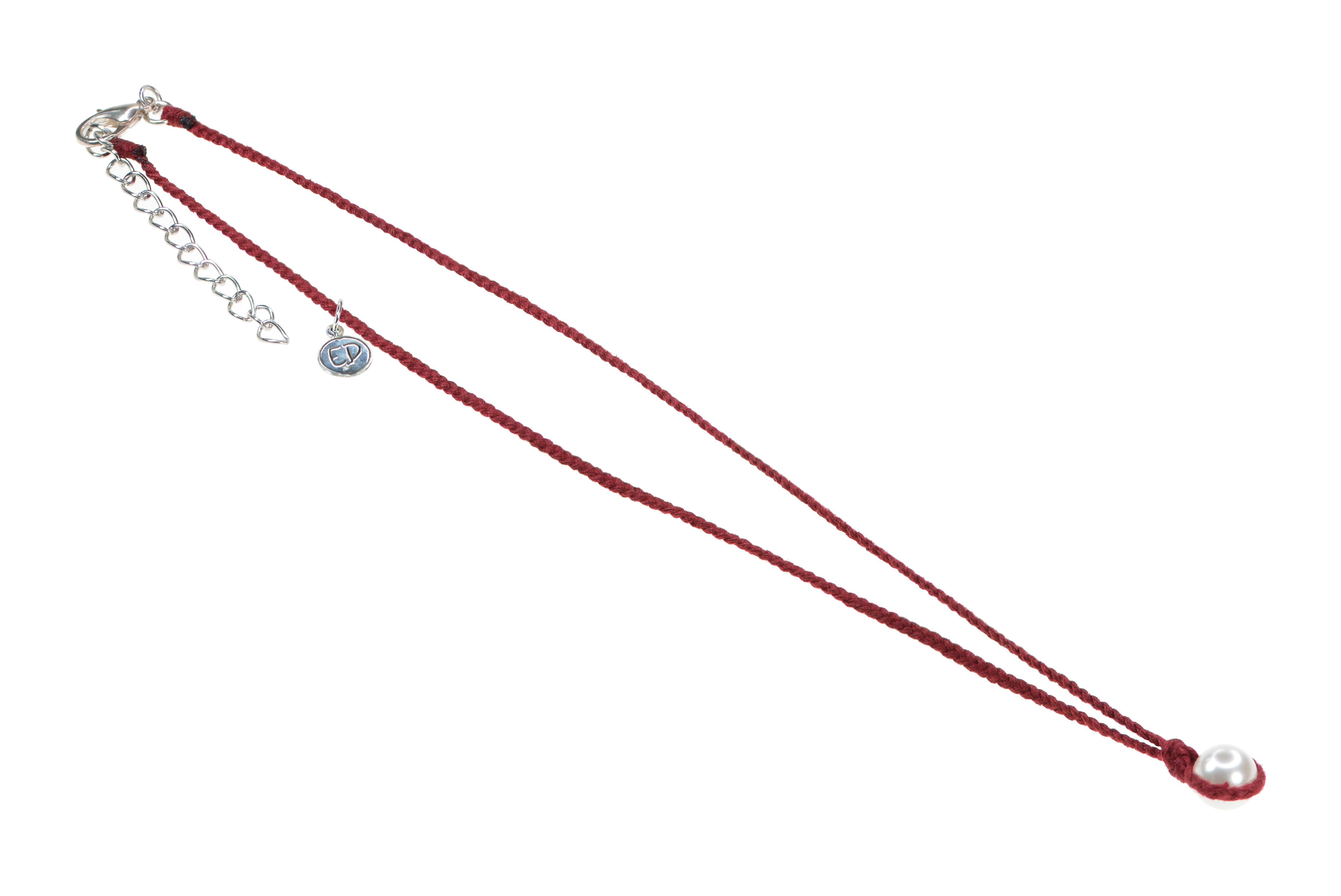 Dámsky ručne pletený náhrdelník s perlou - vínový